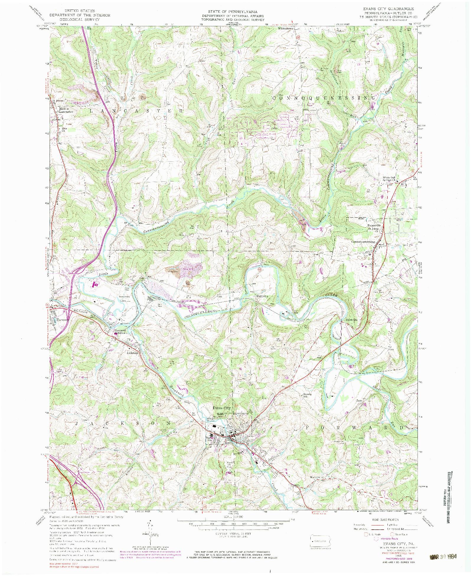 USGS 1:24000-SCALE QUADRANGLE FOR EVANS CITY, PA 1958