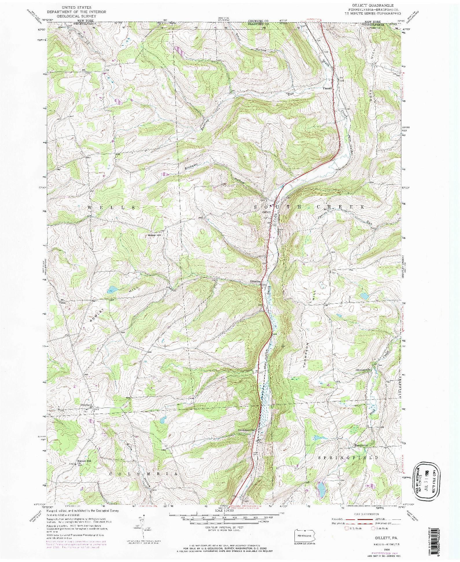 USGS 1:24000-SCALE QUADRANGLE FOR GILLETT, PA 1954