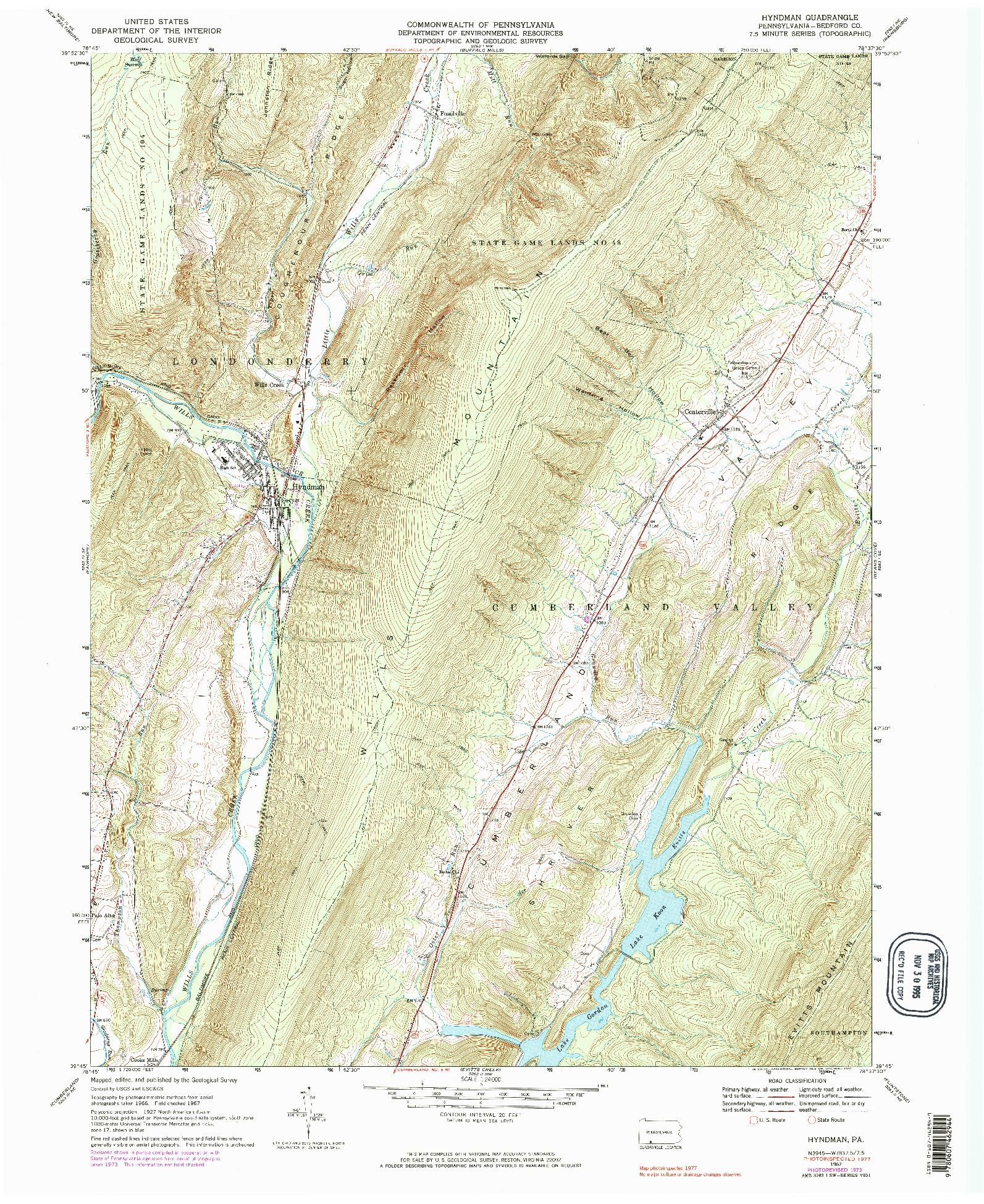 USGS 1:24000-SCALE QUADRANGLE FOR HYNDMAN, PA 1967
