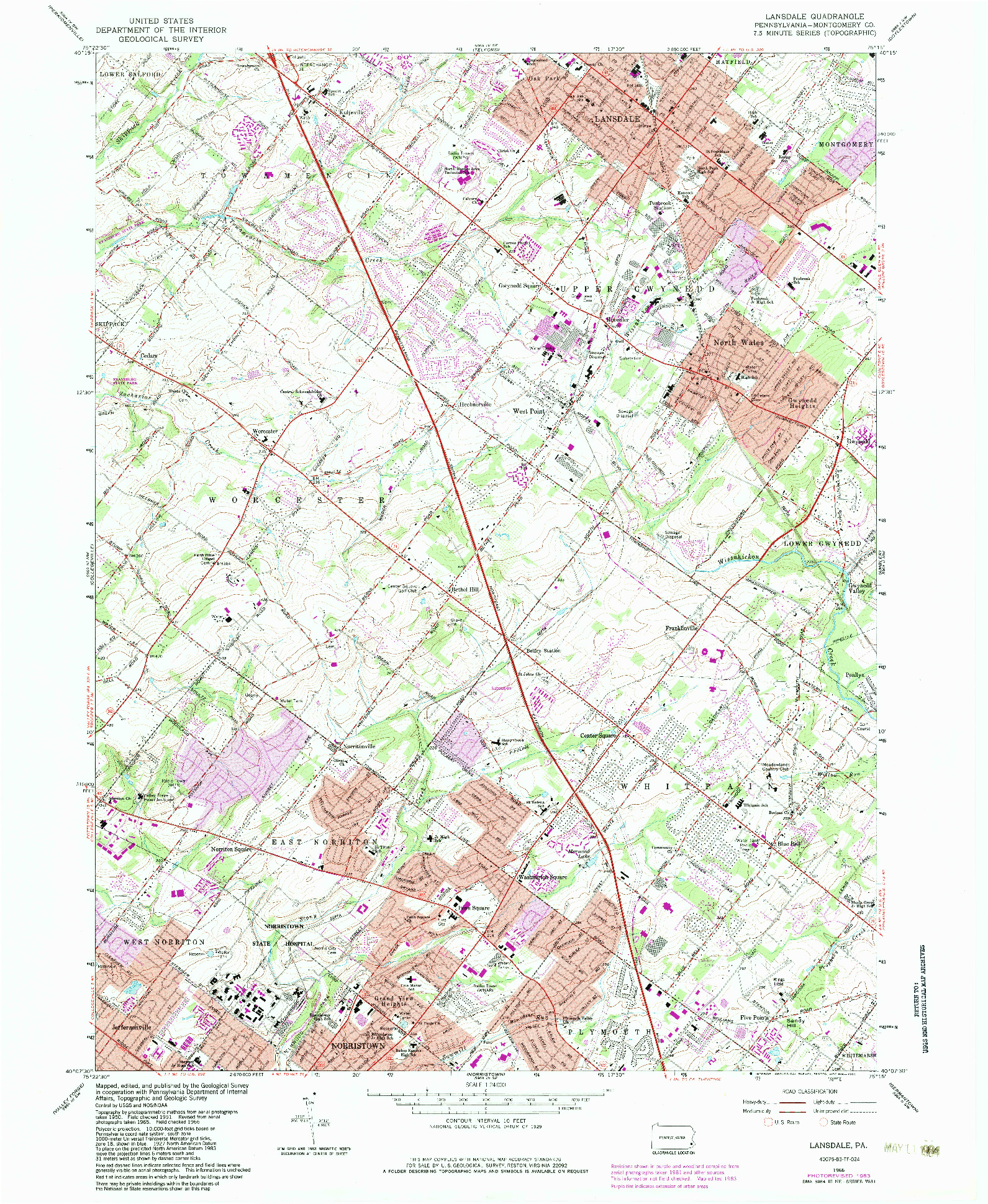 USGS 1:24000-SCALE QUADRANGLE FOR LANSDALE, PA 1966