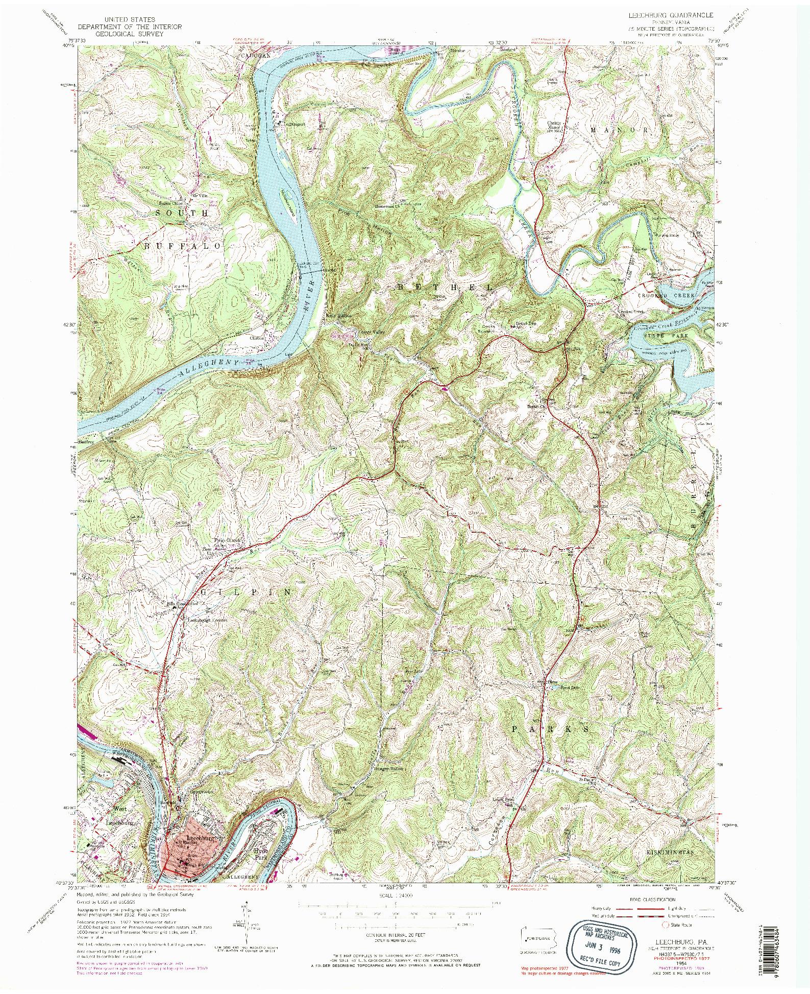 USGS 1:24000-SCALE QUADRANGLE FOR LEECHBURG, PA 1954