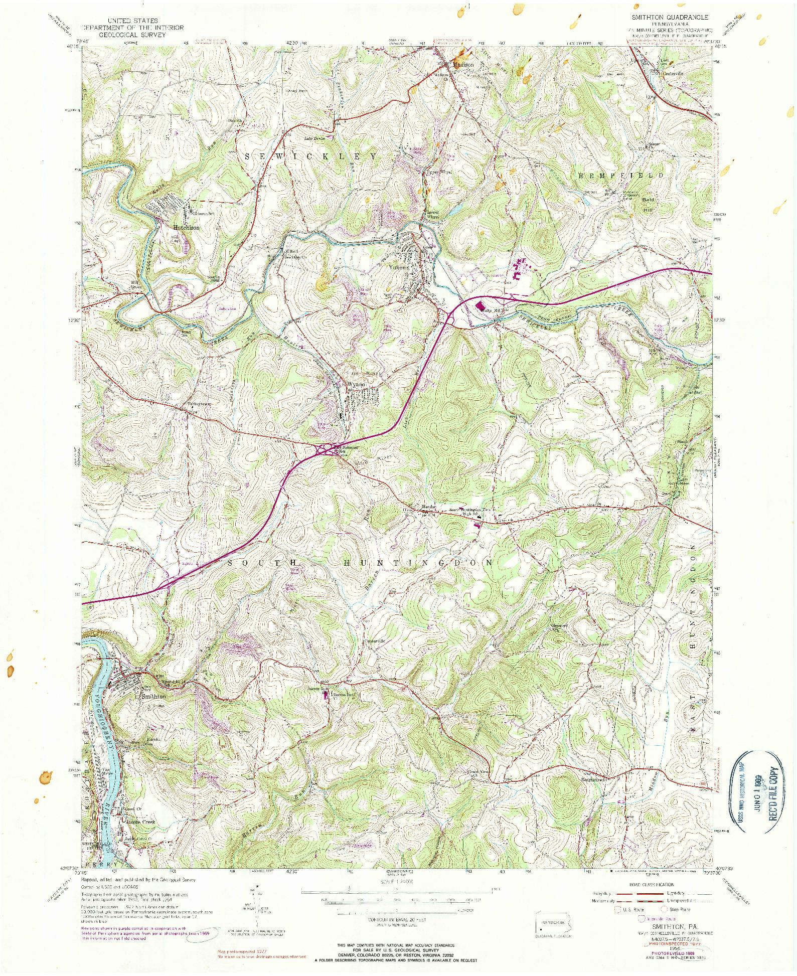 USGS 1:24000-SCALE QUADRANGLE FOR SMITHTON, PA 1954