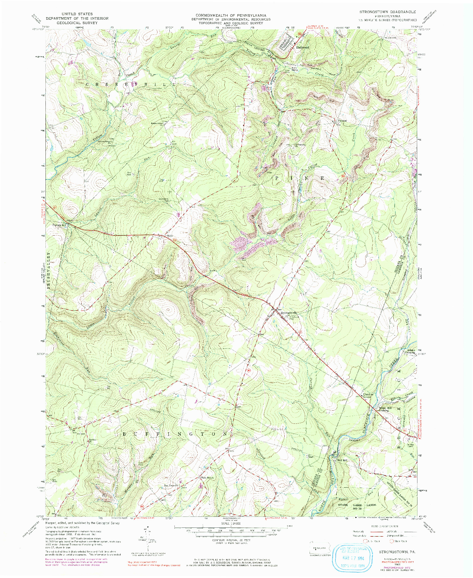 USGS 1:24000-SCALE QUADRANGLE FOR STRONGSTOWN, PA 1961