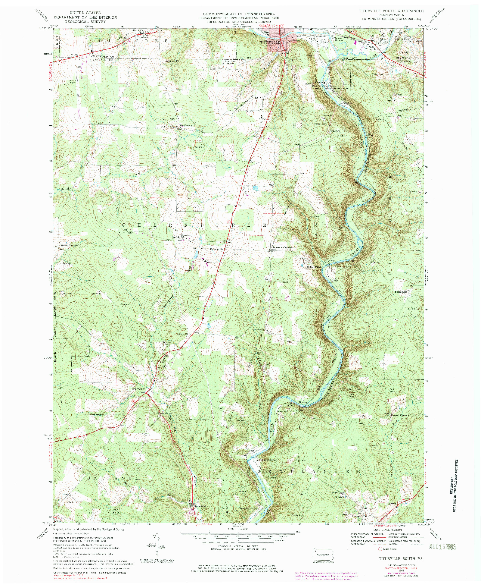 USGS 1:24000-SCALE QUADRANGLE FOR TITUSVILLE SOUTH, PA 1968