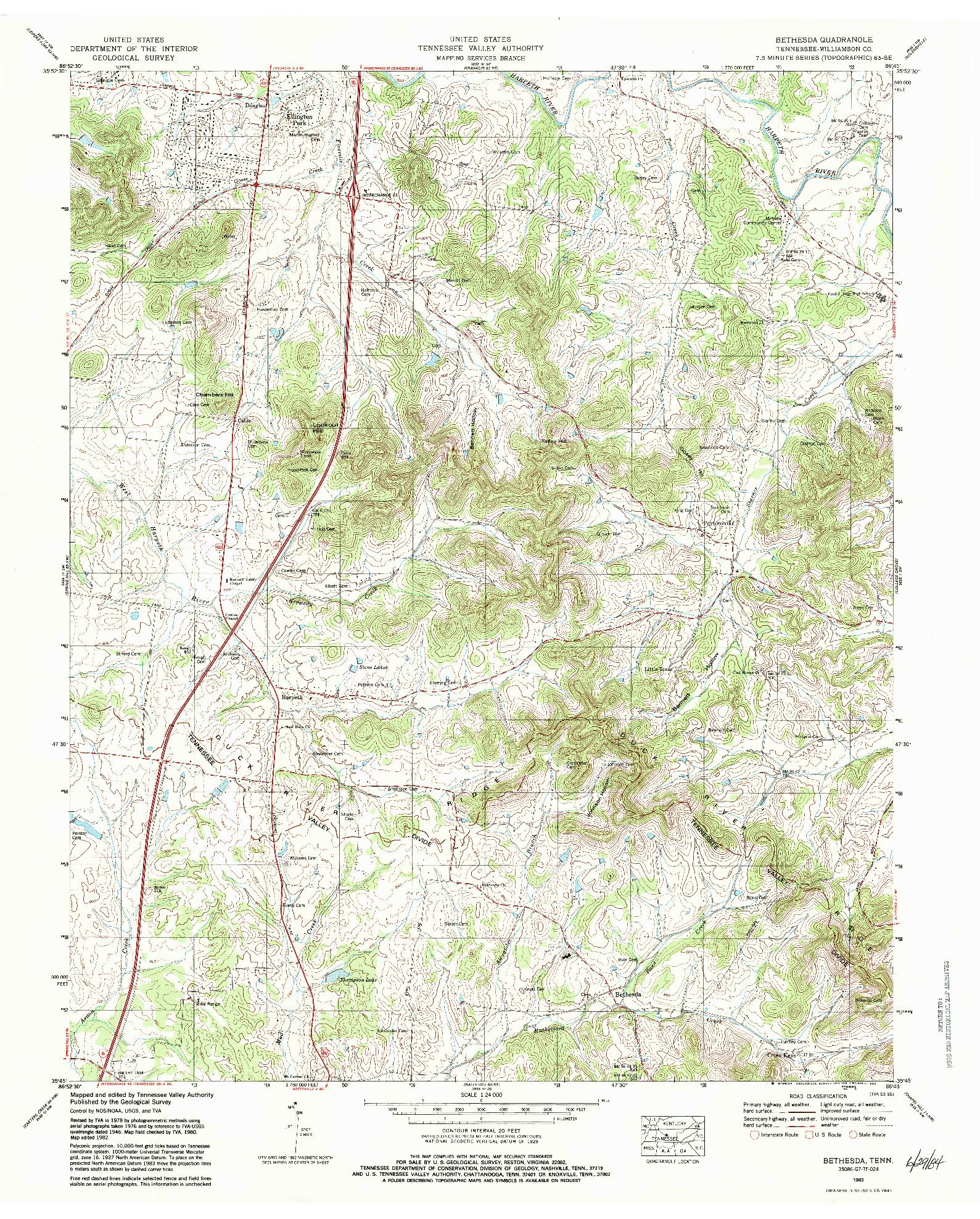 USGS 1:24000-SCALE QUADRANGLE FOR BETHESDA, TN 1982