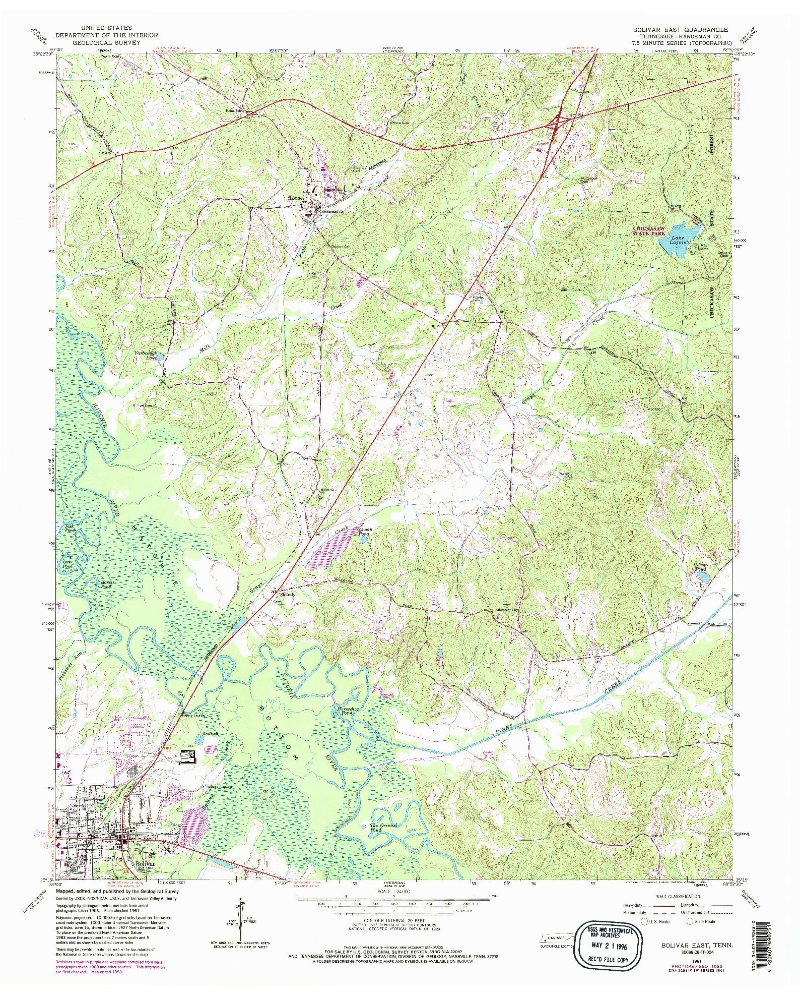 USGS 1:24000-SCALE QUADRANGLE FOR BOLIVAR EAST, TN 1961