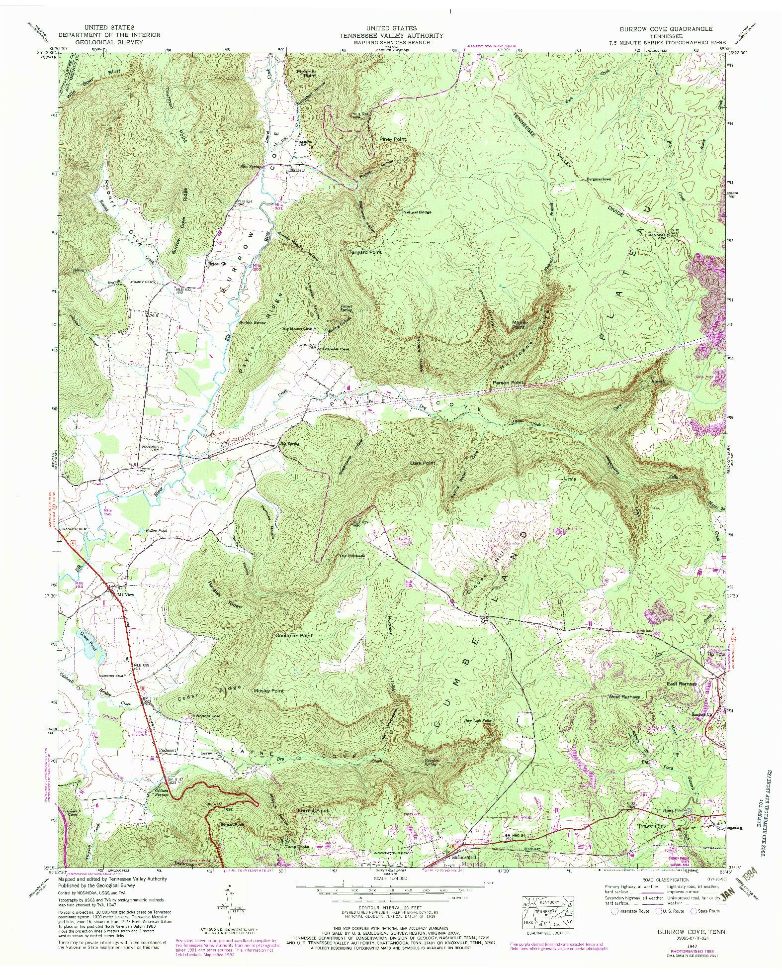 USGS 1:24000-SCALE QUADRANGLE FOR BURROW COVE, TN 1947
