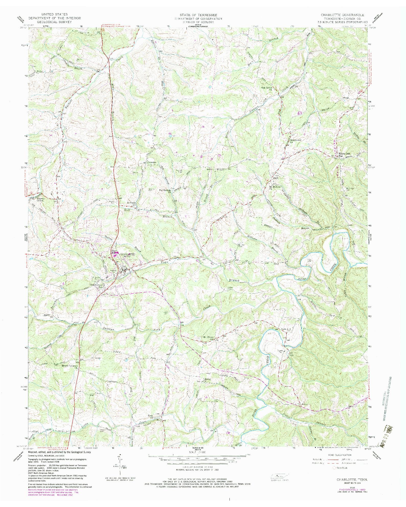 USGS 1:24000-SCALE QUADRANGLE FOR CHARLOTTE, TN 1958