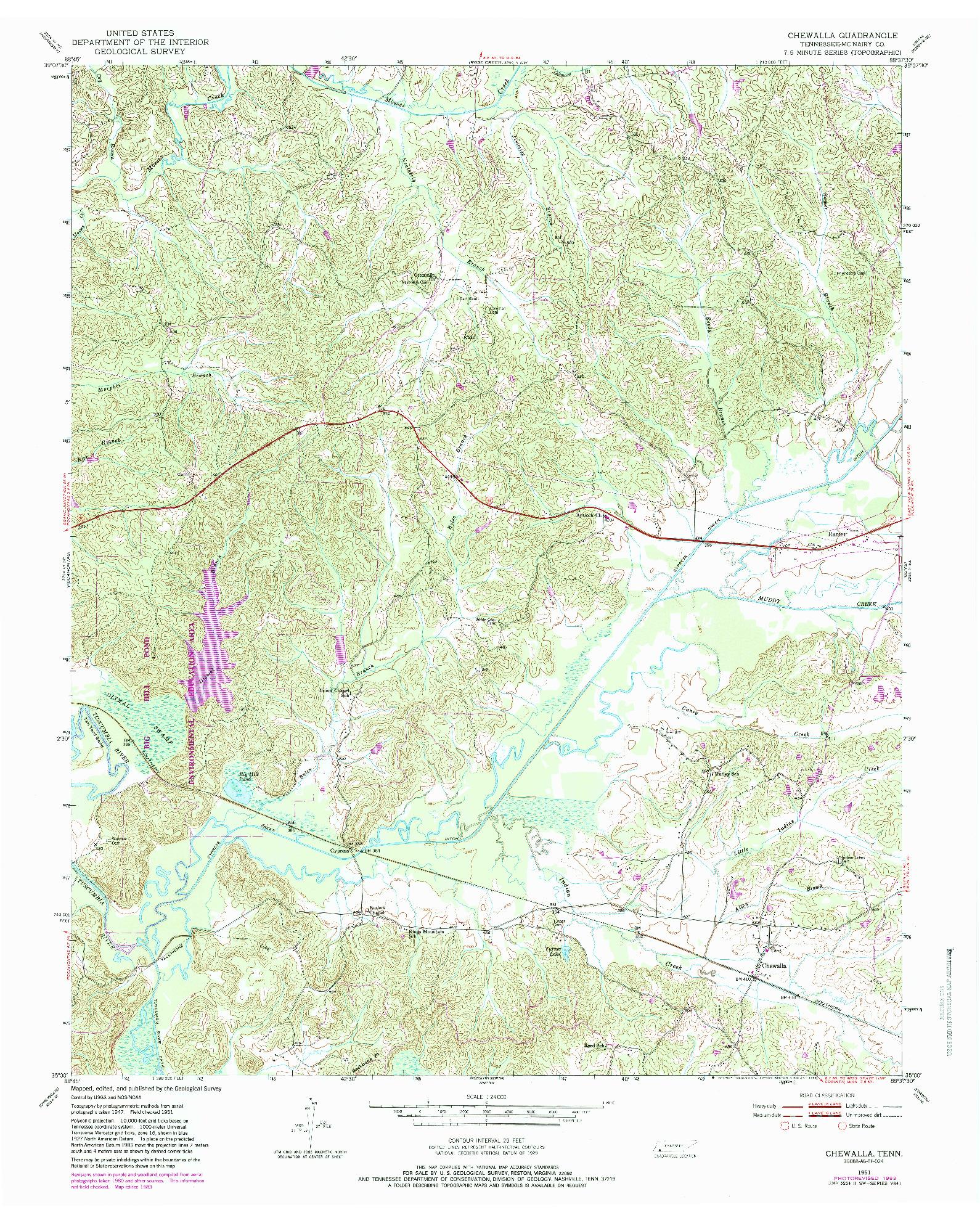 USGS 1:24000-SCALE QUADRANGLE FOR CHEWALLA, TN 1951