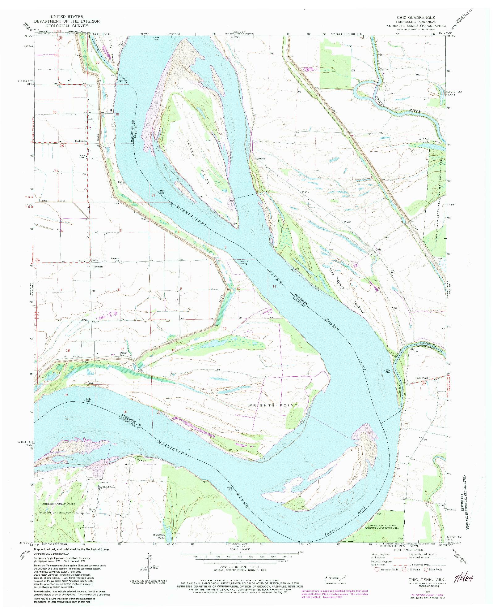 USGS 1:24000-SCALE QUADRANGLE FOR CHIC, TN 1972