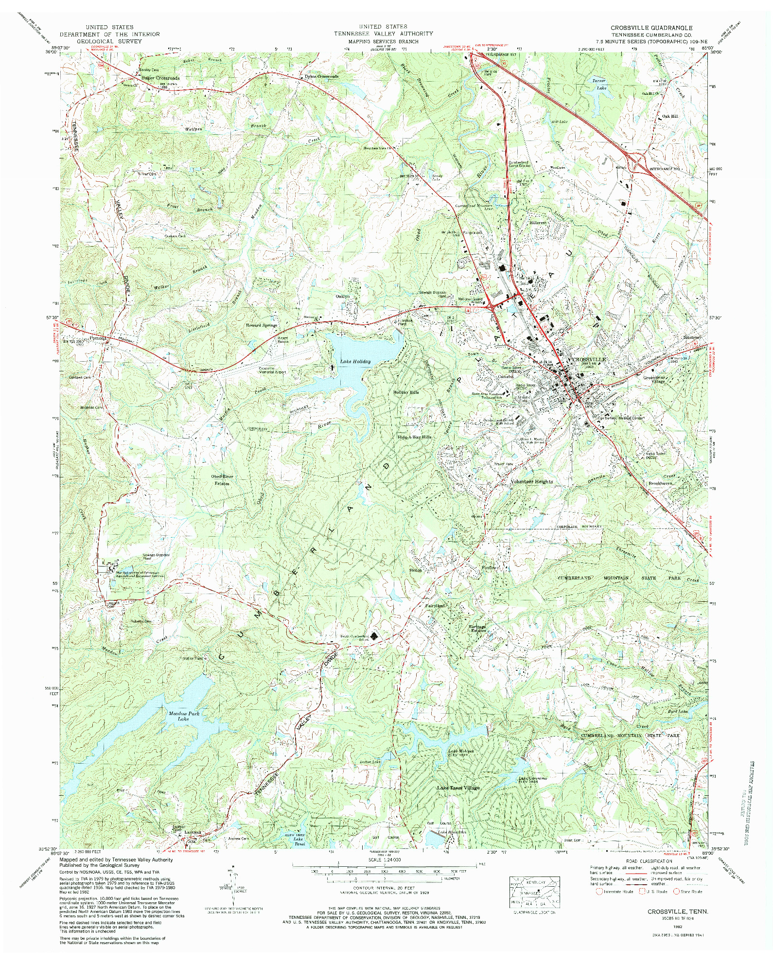 USGS 1:24000-SCALE QUADRANGLE FOR CROSSVILLE, TN 1982