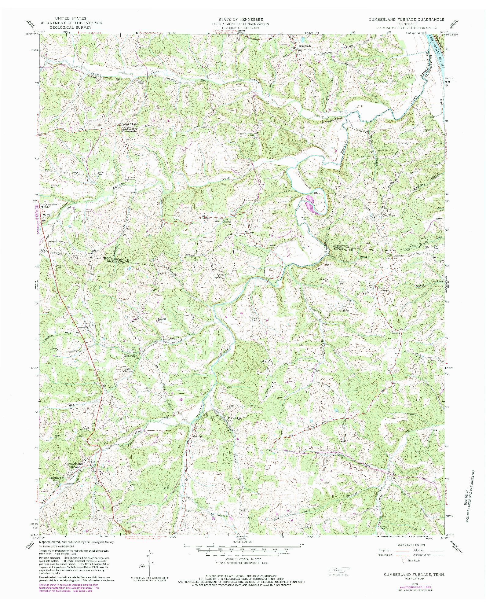USGS 1:24000-SCALE QUADRANGLE FOR CUMBERLAND FURNACE, TN 1958