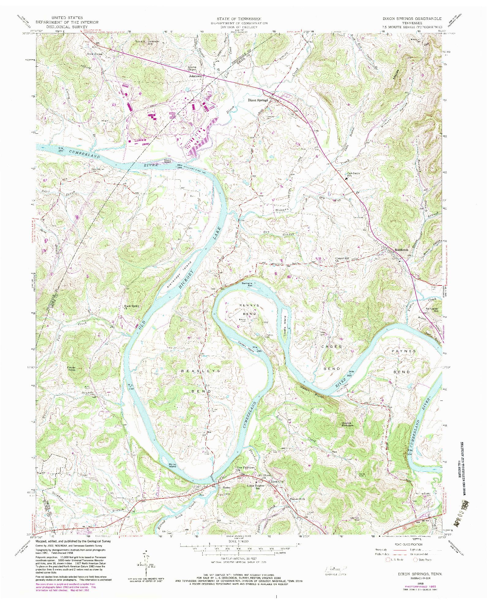 USGS 1:24000-SCALE QUADRANGLE FOR DIXON SPRINGS, TN 1958