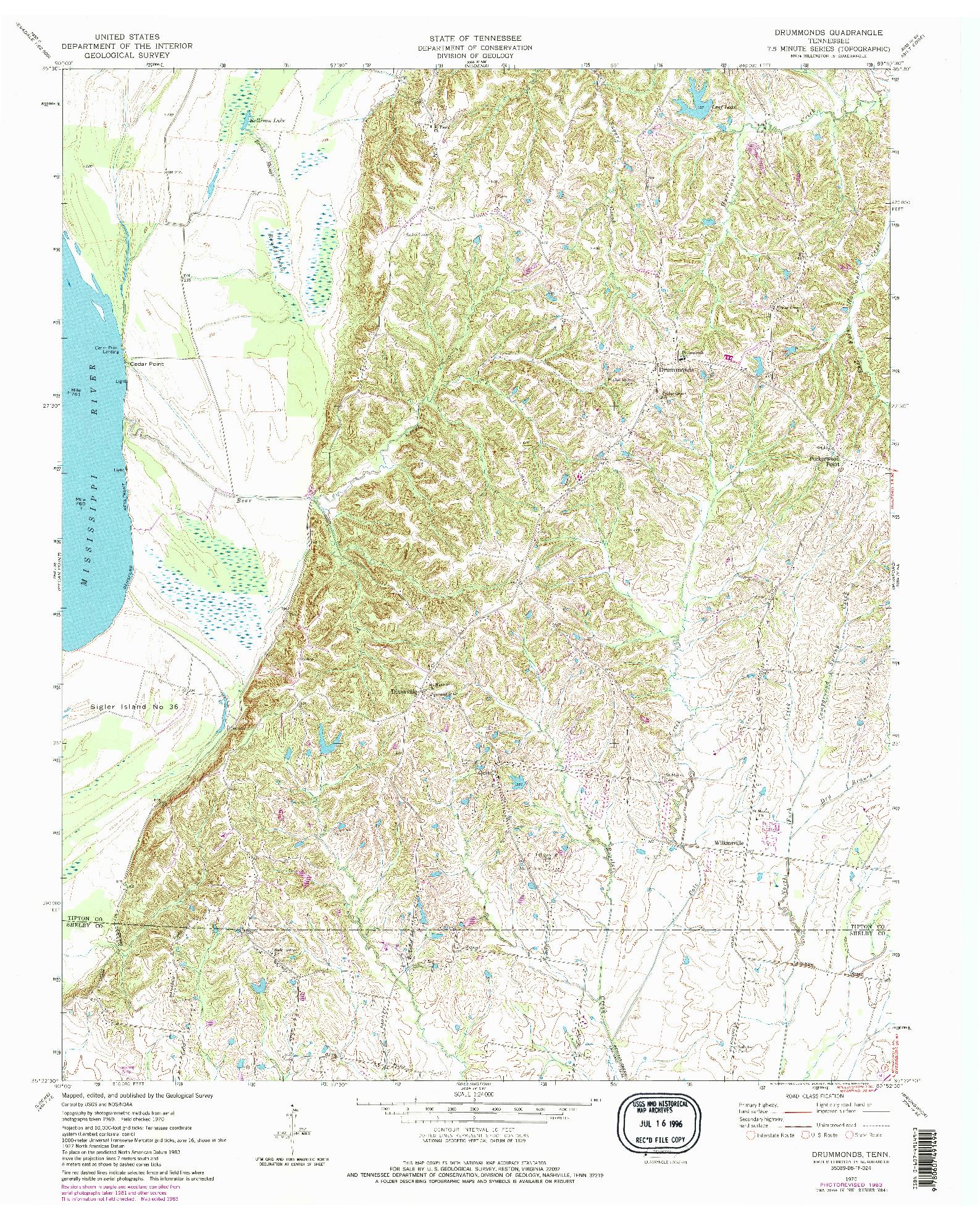 USGS 1:24000-SCALE QUADRANGLE FOR DRUMMONDS, TN 1970