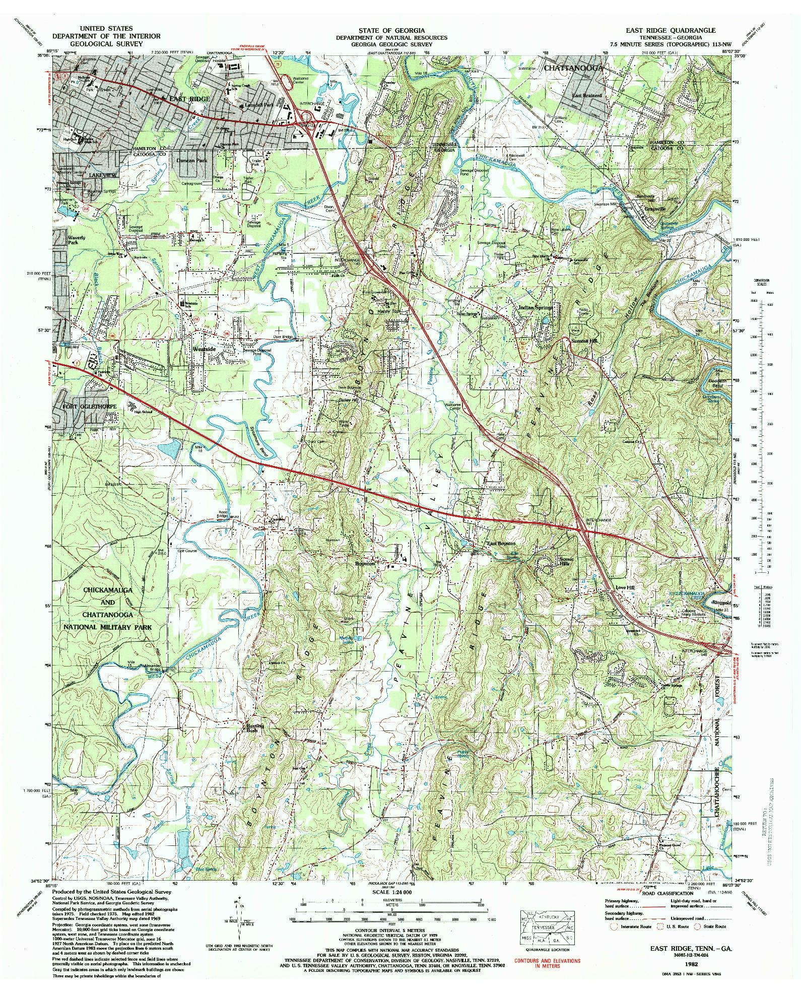 USGS 1:24000-SCALE QUADRANGLE FOR EAST RIDGE, TN 1982