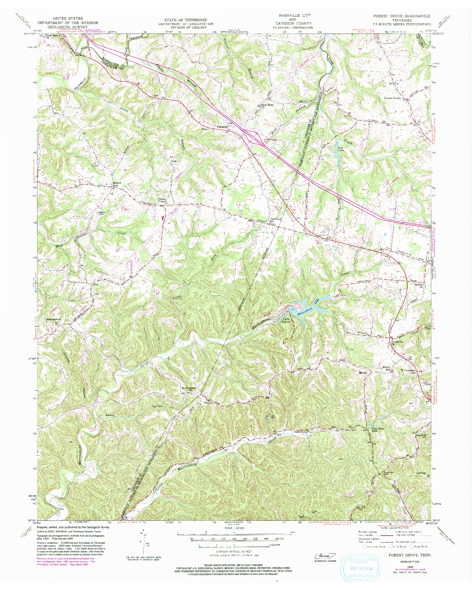 USGS 1:24000-SCALE QUADRANGLE FOR FOREST GROVE, TN 1955