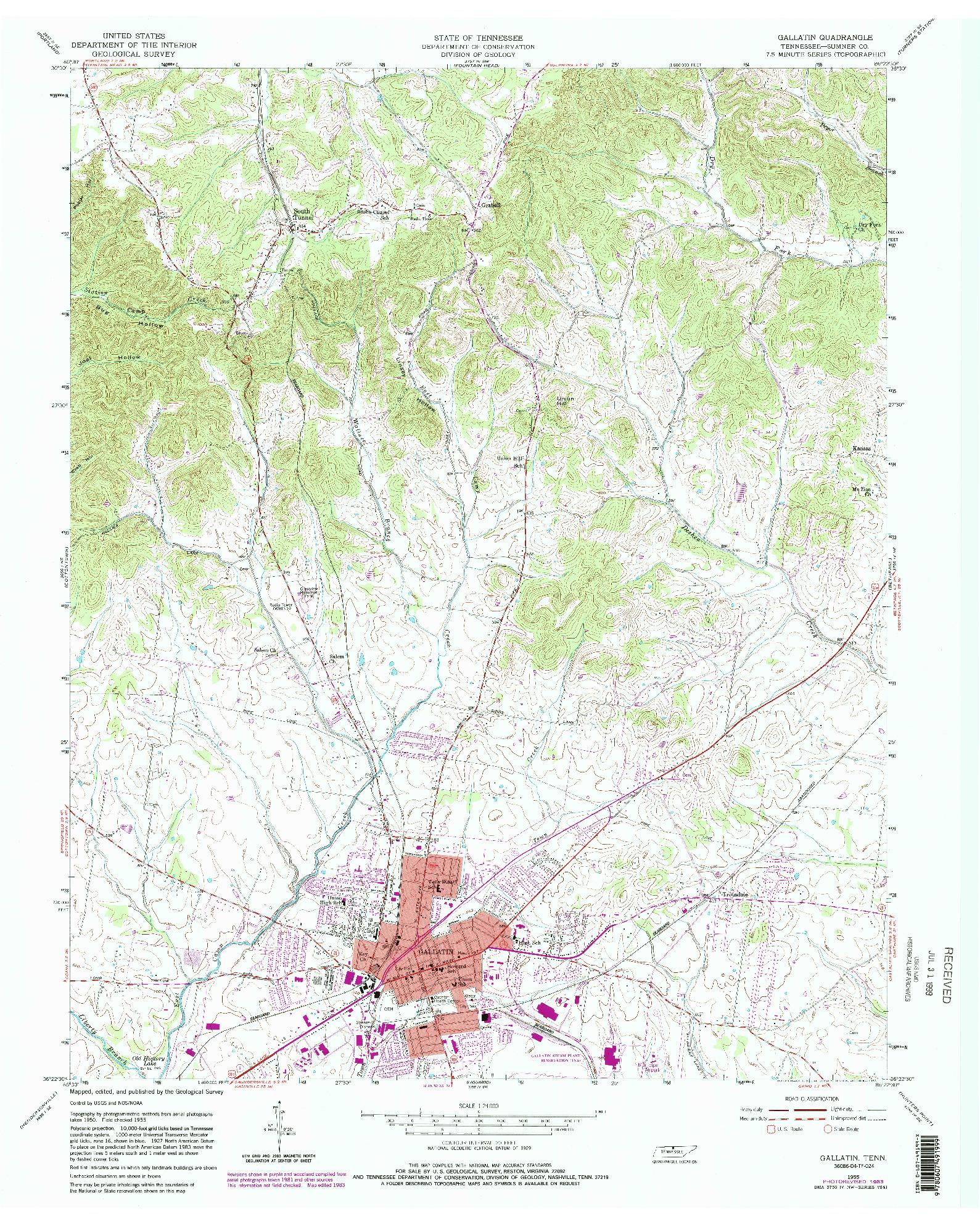 USGS 1:24000-SCALE QUADRANGLE FOR GALLATIN, TN 1955