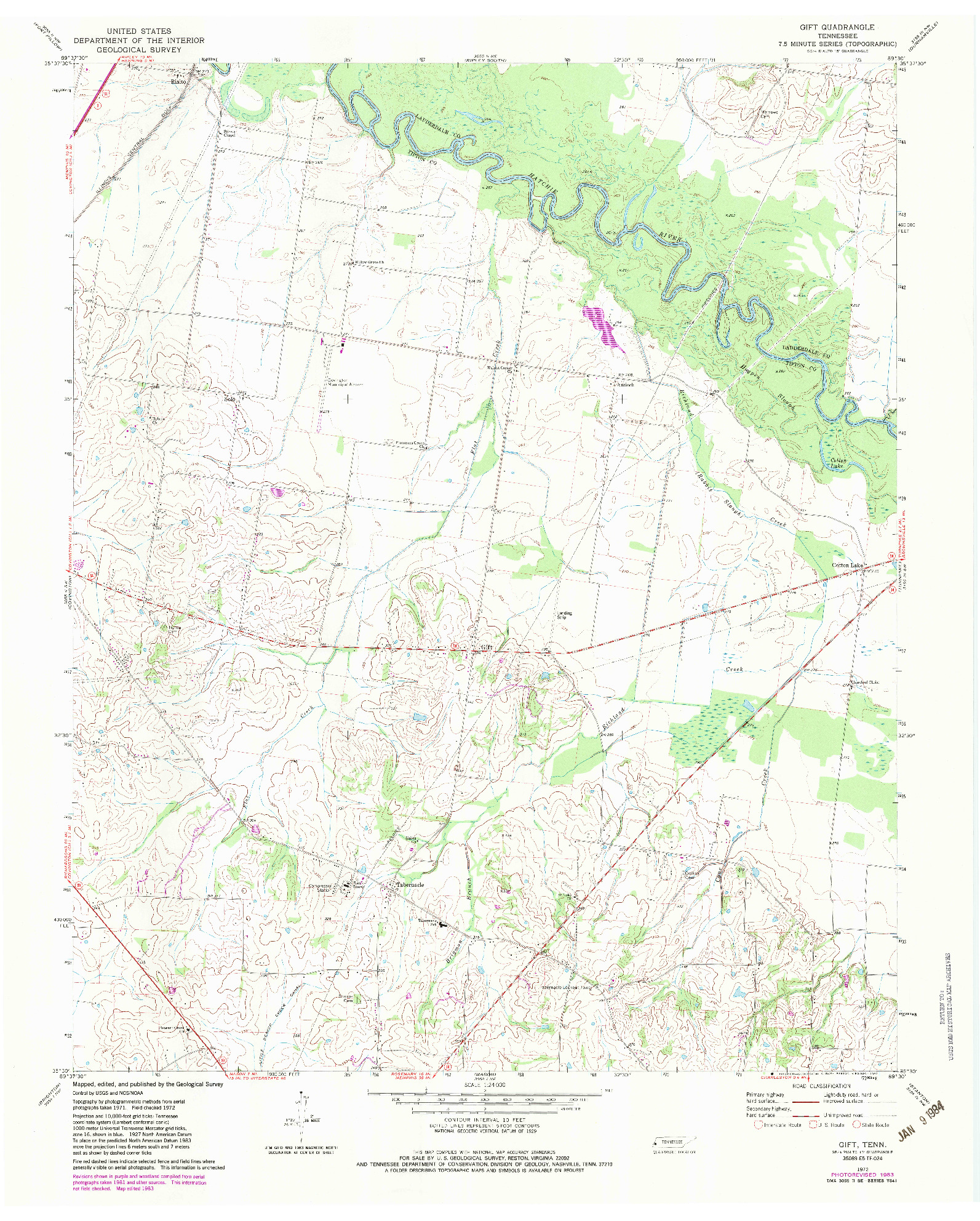 USGS 1:24000-SCALE QUADRANGLE FOR GIFT, TN 1972