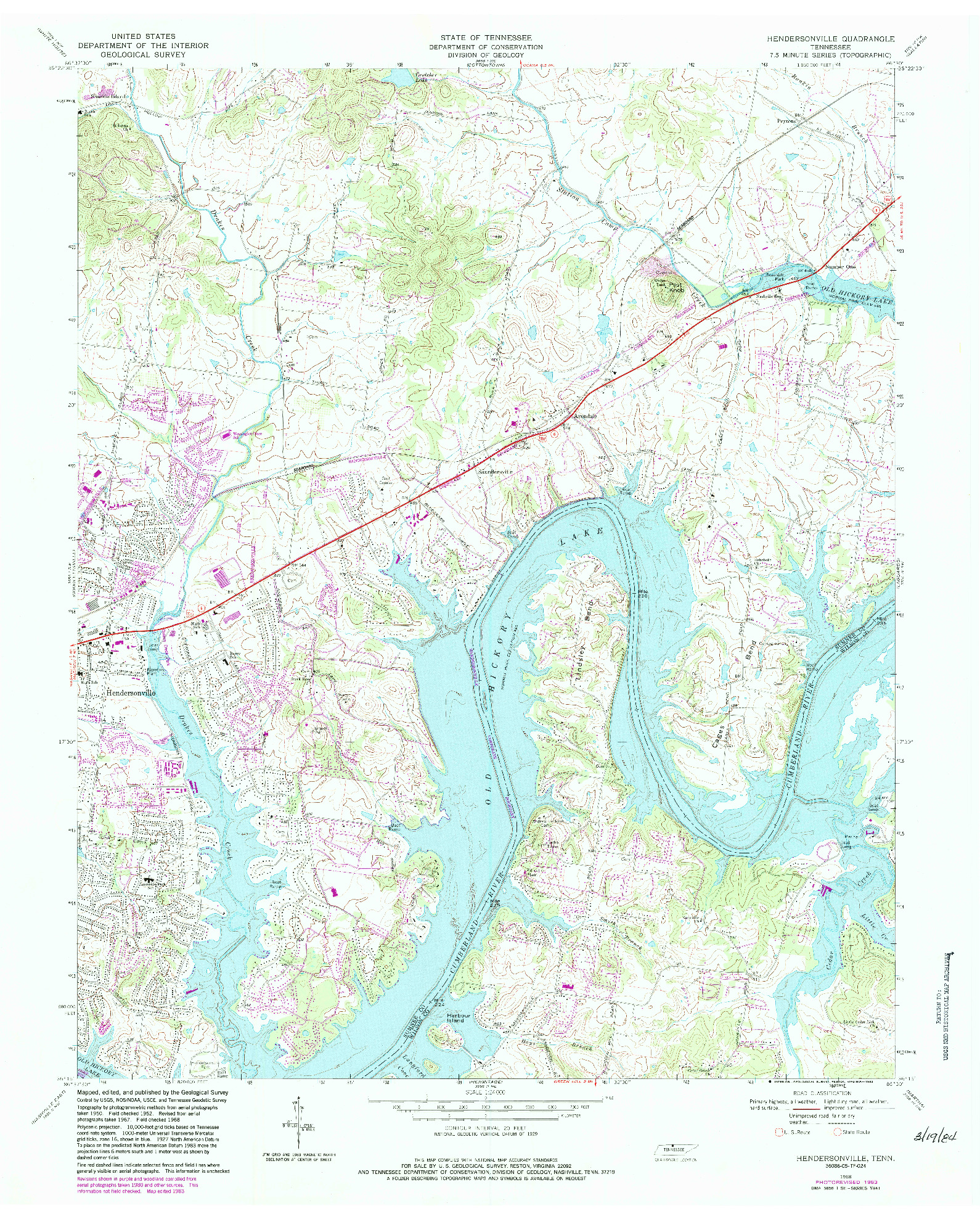 USGS 1:24000-SCALE QUADRANGLE FOR HENDERSONVILLE, TN 1968