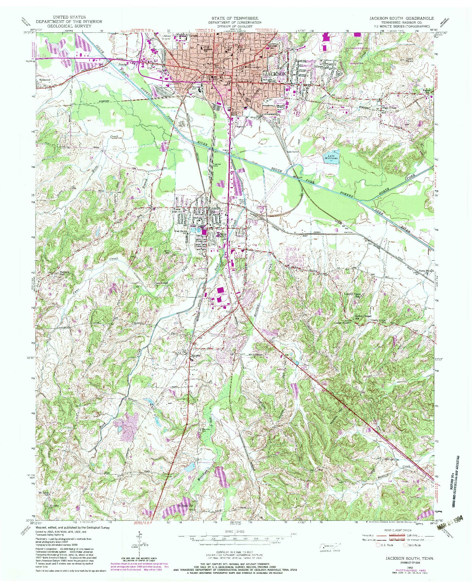 USGS 1:24000-SCALE QUADRANGLE FOR JACKSON SOUTH, TN 1950