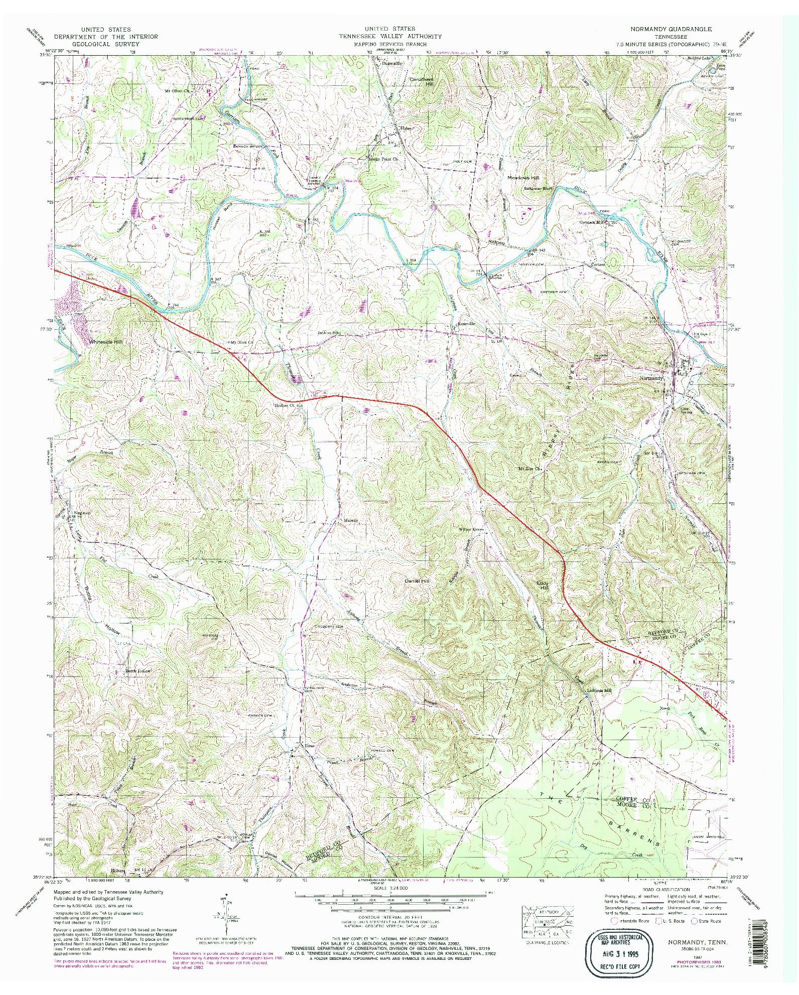 USGS 1:24000-SCALE QUADRANGLE FOR NORMANDY, TN 1947