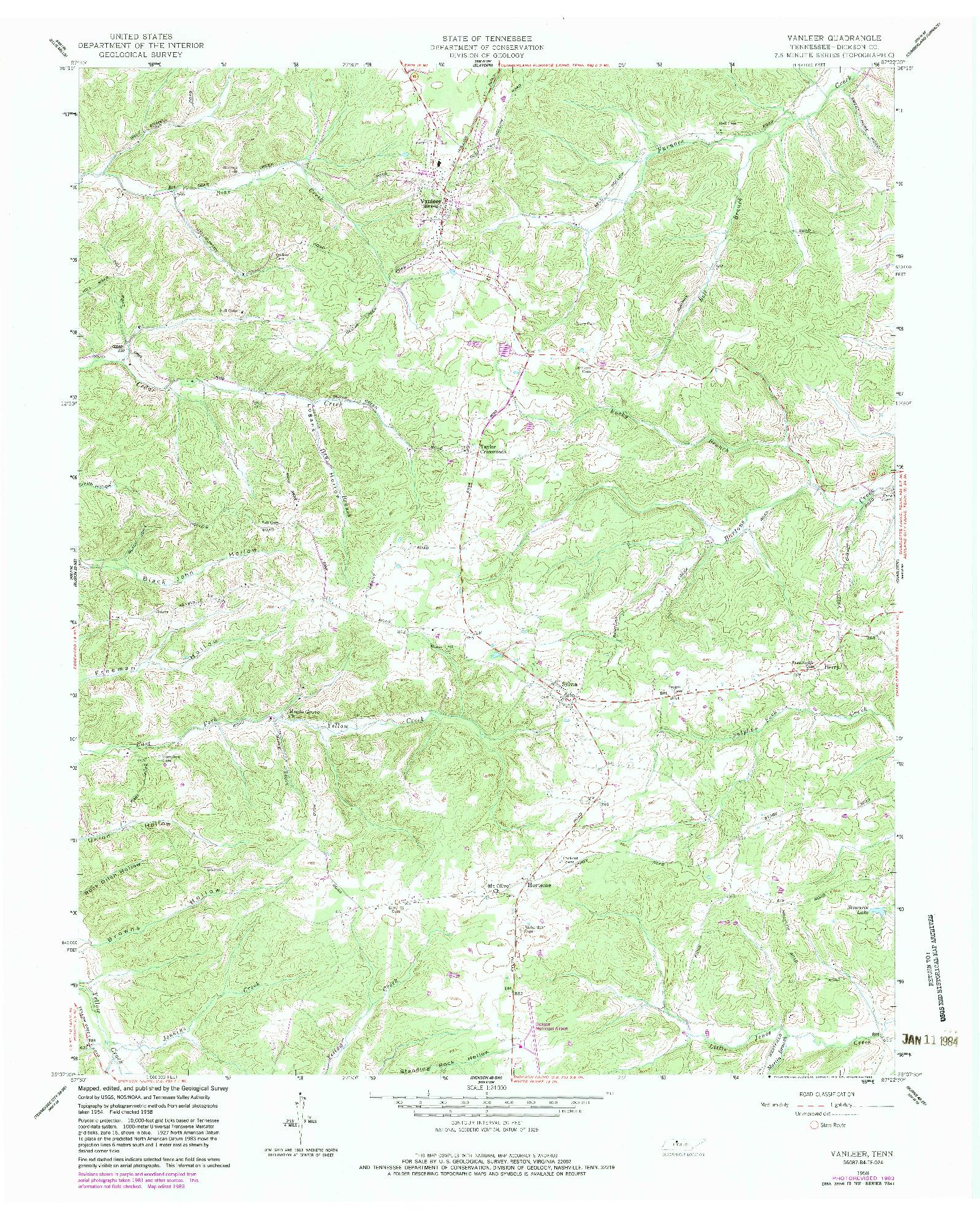 USGS 1:24000-SCALE QUADRANGLE FOR VANLEER, TN 1958