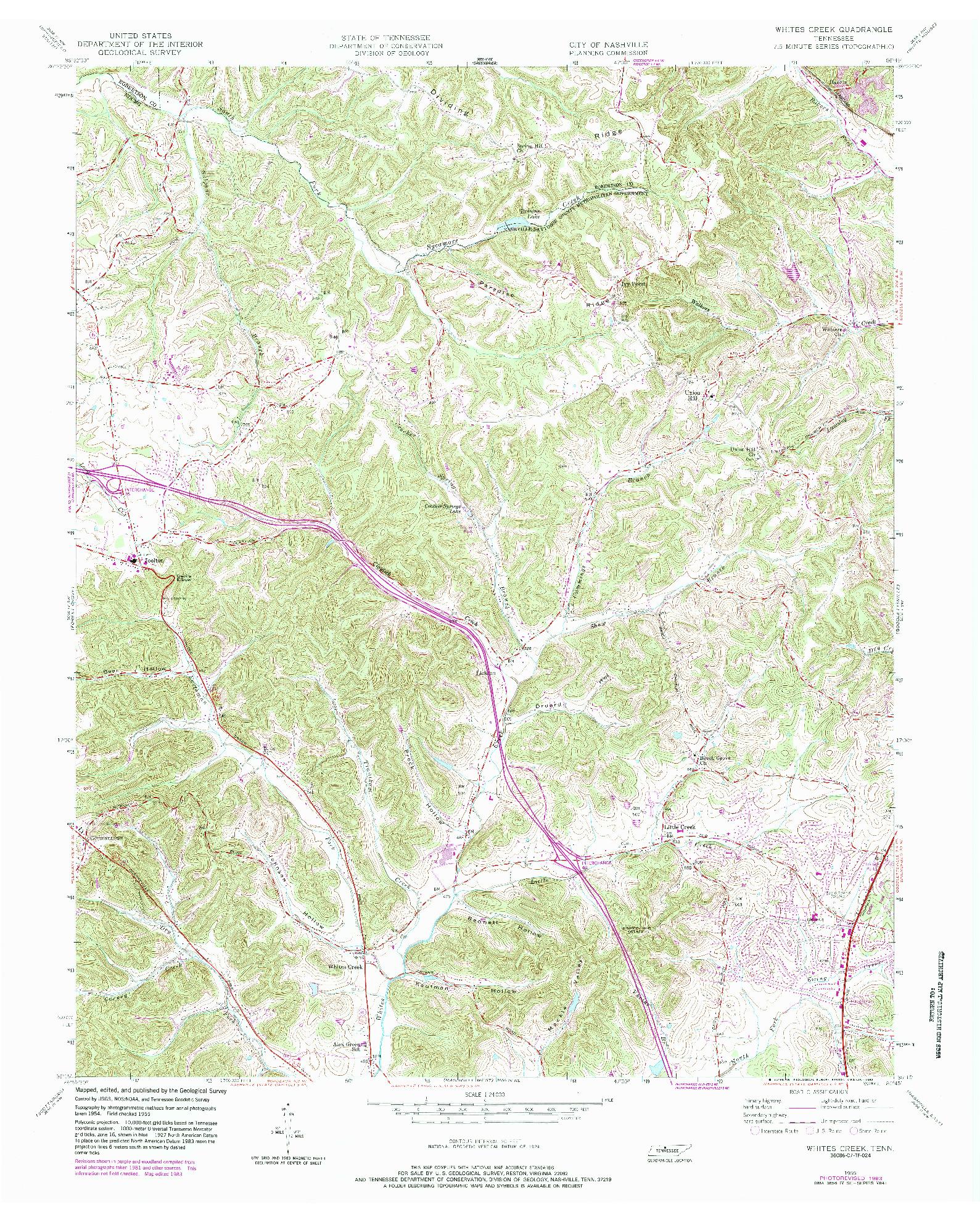 USGS 1:24000-SCALE QUADRANGLE FOR WHITES CREEK, TN 1955