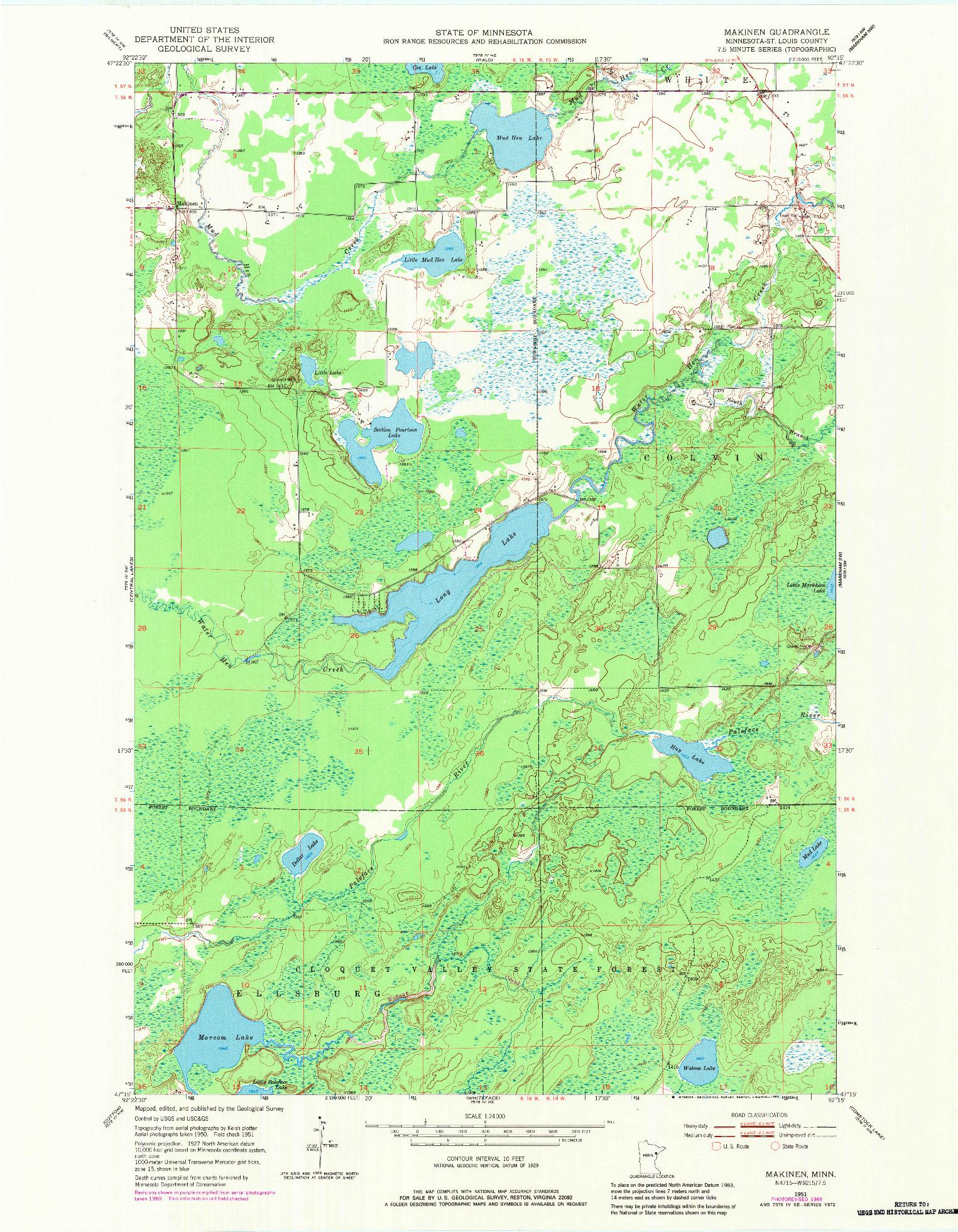 USGS 1:24000-SCALE QUADRANGLE FOR MAKINEN, MN 1951