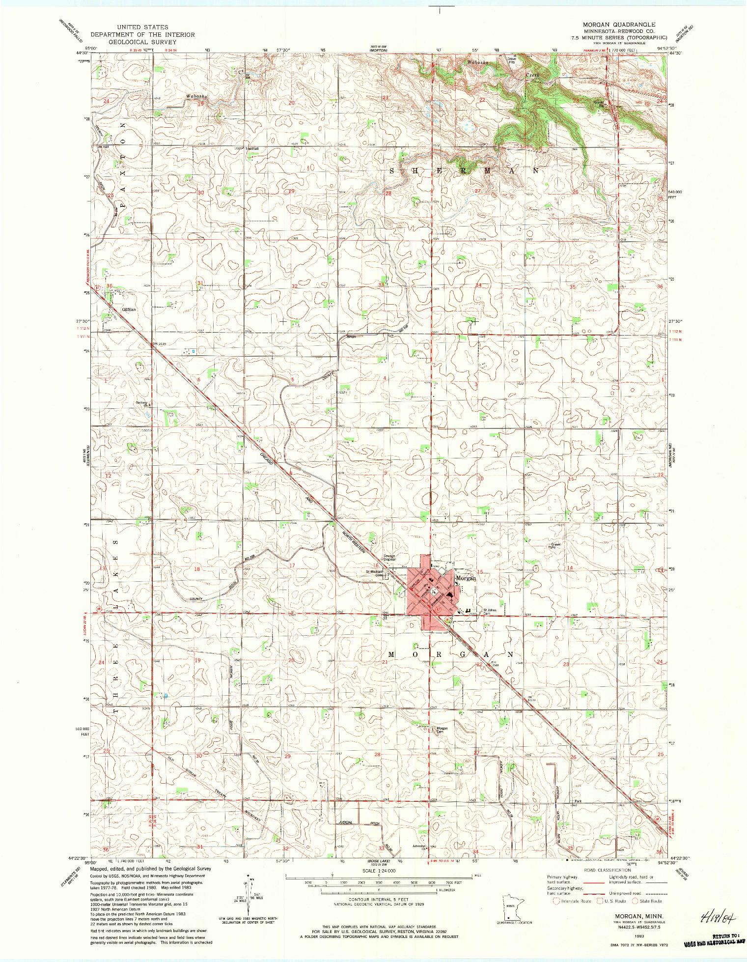 USGS 1:24000-SCALE QUADRANGLE FOR MORGAN, MN 1983