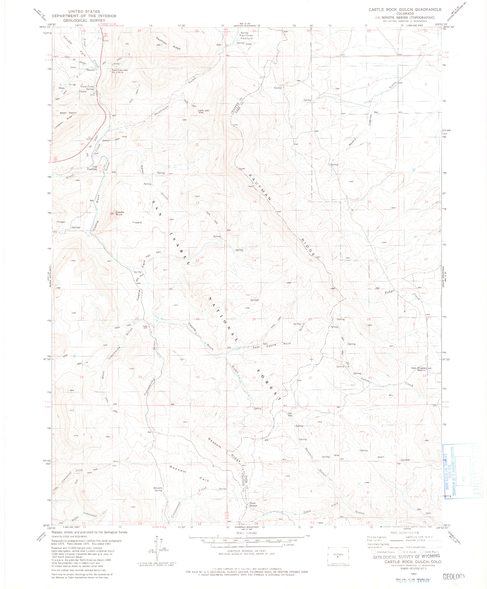 USGS 1:24000-SCALE QUADRANGLE FOR CASTLE ROCK GULCH, CO 1983