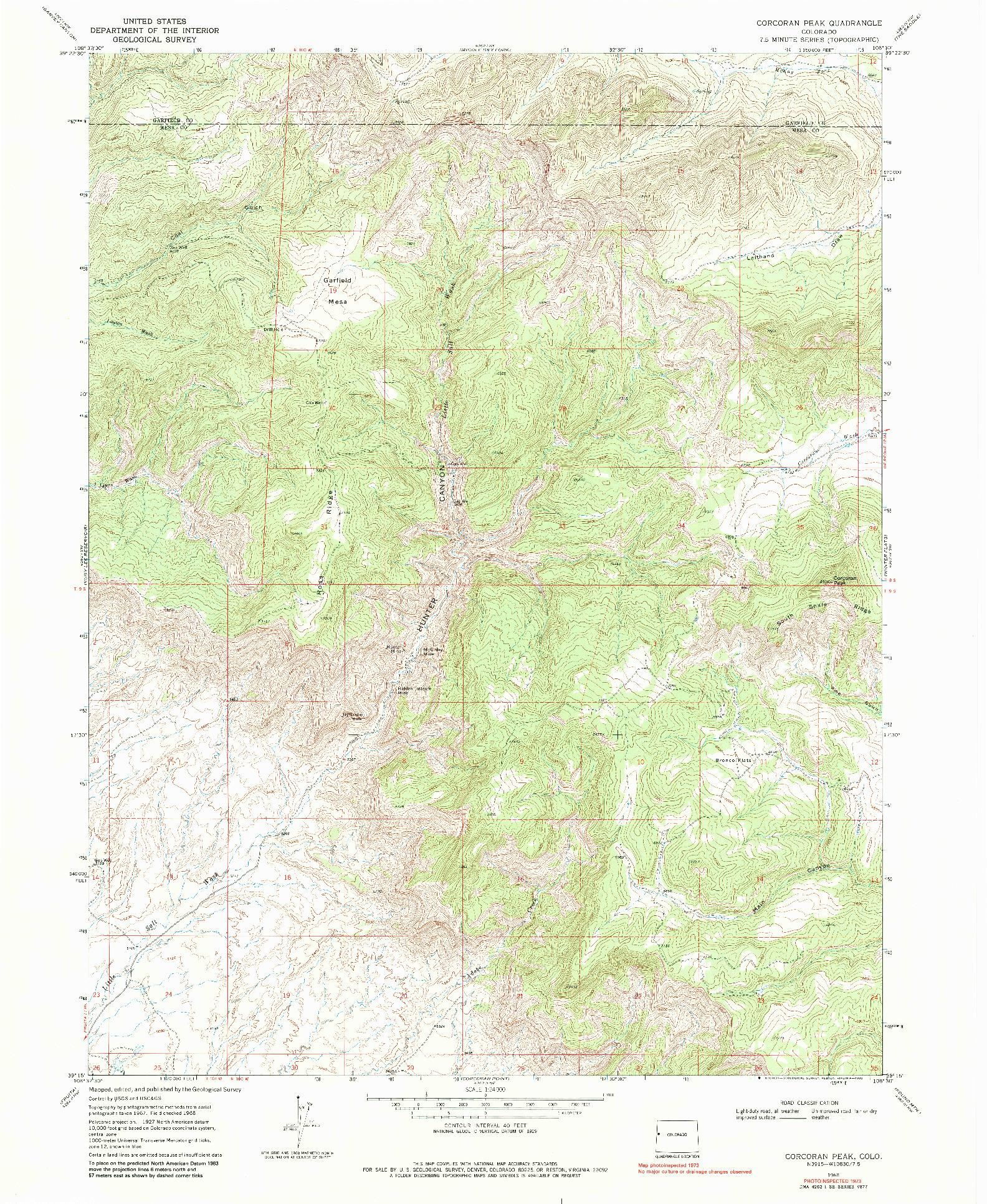 USGS 1:24000-SCALE QUADRANGLE FOR CORCORAN PEAK, CO 1968