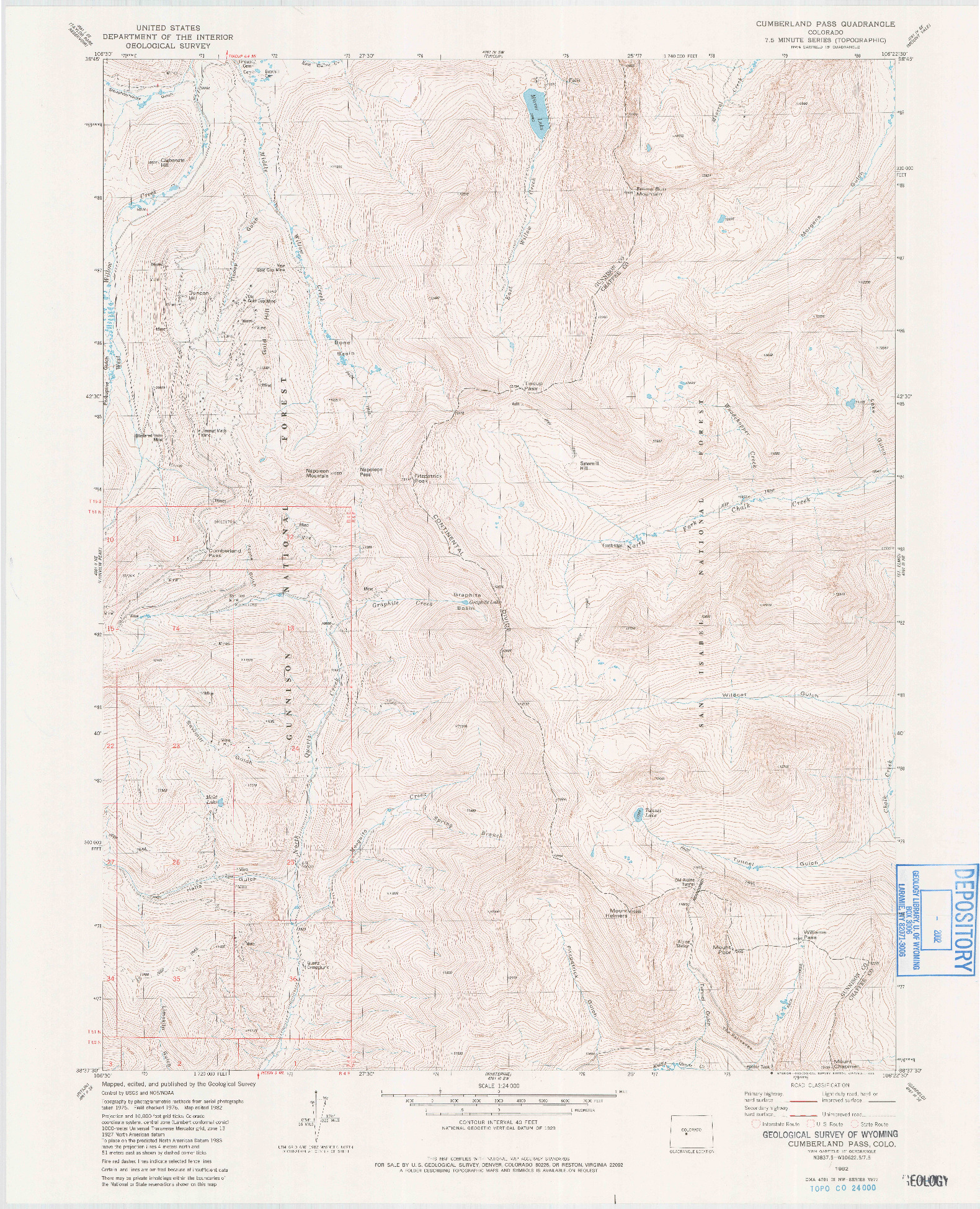 USGS 1:24000-SCALE QUADRANGLE FOR CUMBERLAND PASS, CO 1982