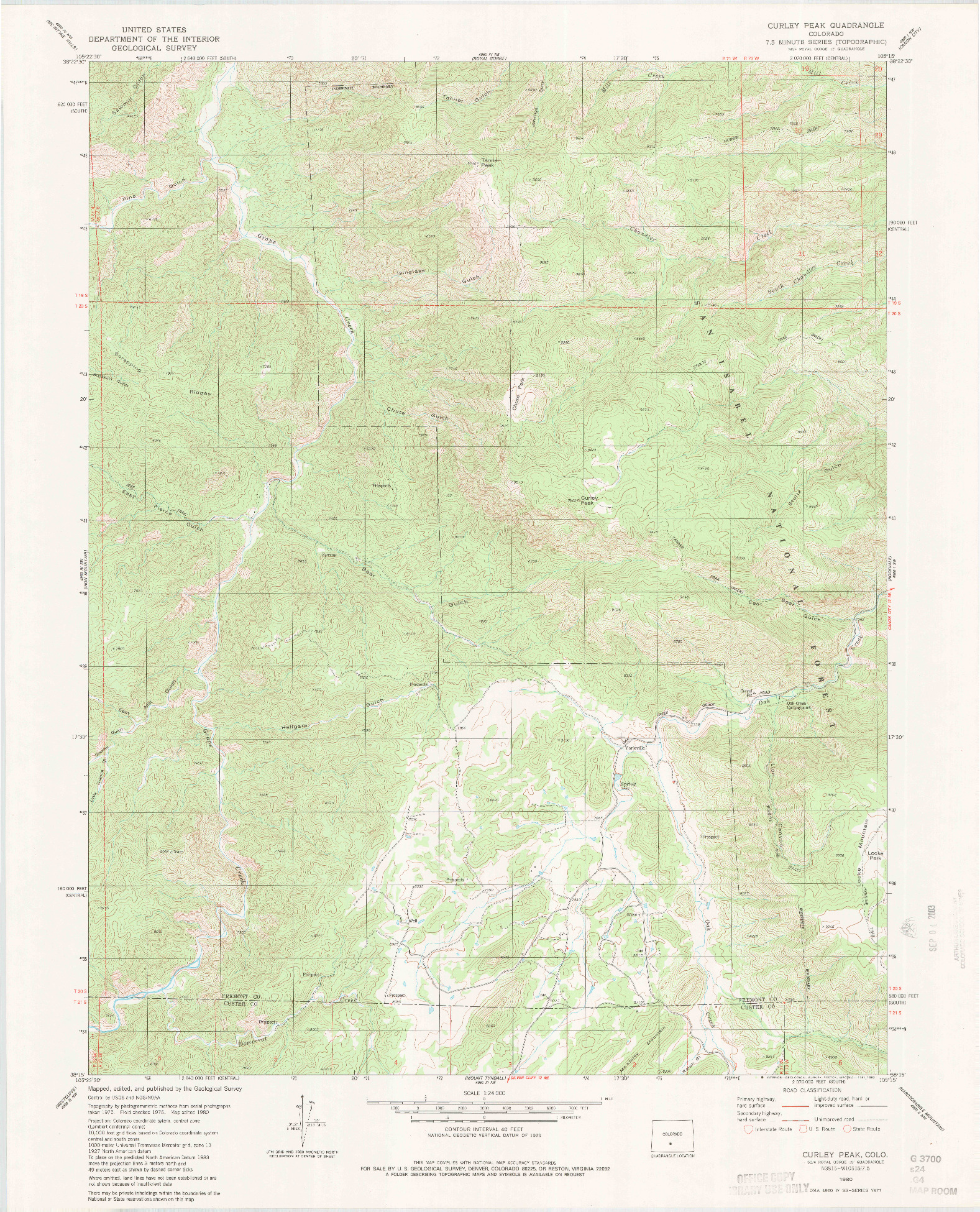 USGS 1:24000-SCALE QUADRANGLE FOR CURLEY PEAK, CO 1980