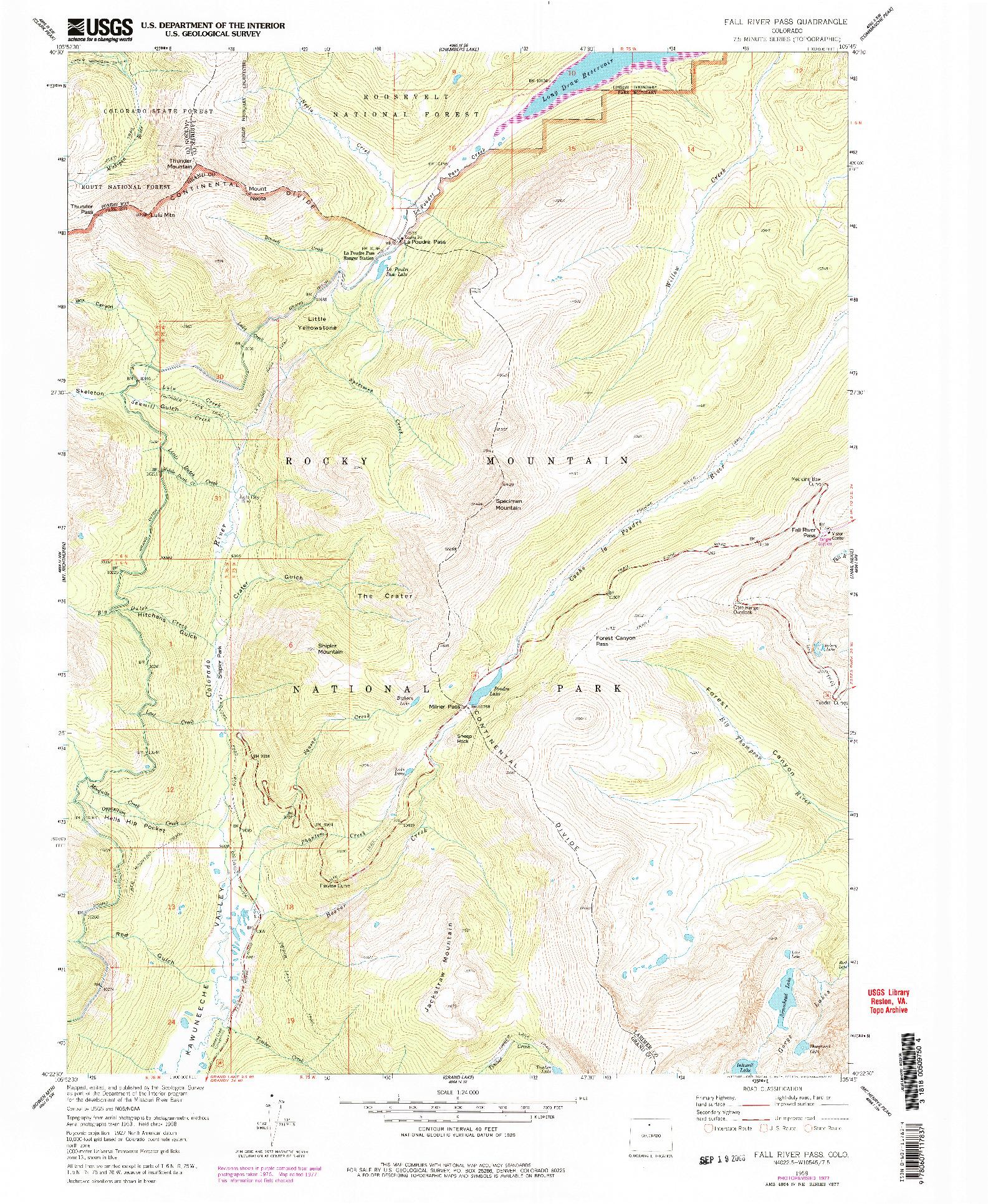 USGS 1:24000-SCALE QUADRANGLE FOR FALL RIVER PASS, CO 1958