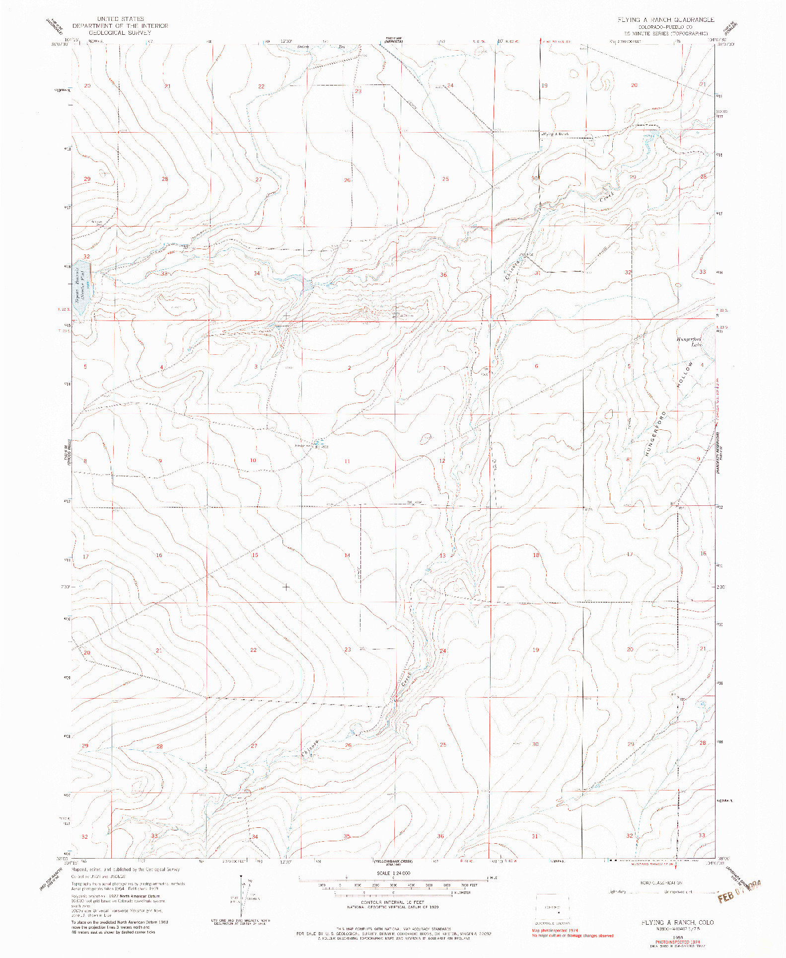 USGS 1:24000-SCALE QUADRANGLE FOR FLYING A RANCH, CO 1959
