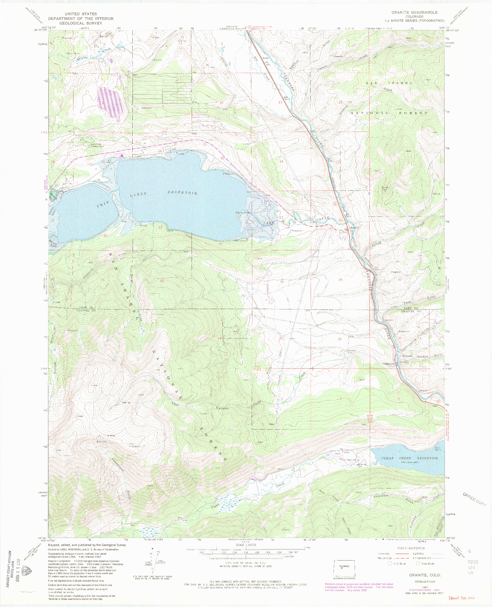 USGS 1:24000-SCALE QUADRANGLE FOR GRANITE, CO 1967