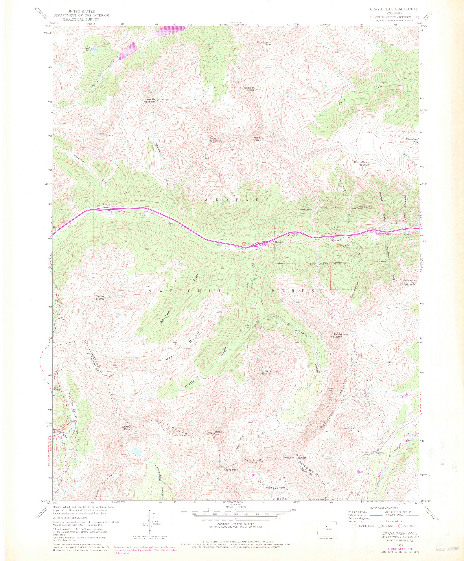 USGS 1:24000-SCALE QUADRANGLE FOR GRAYS PEAK, CO 1958