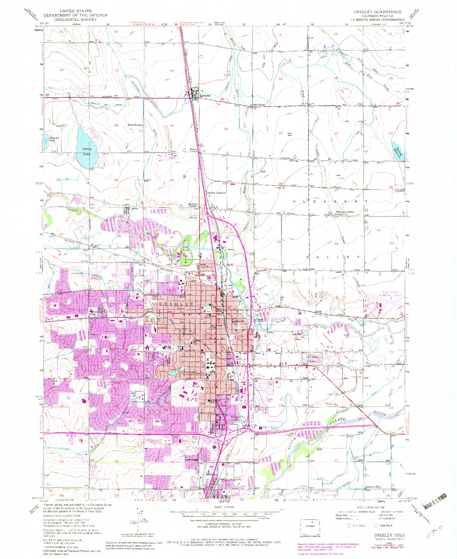 USGS 1:24000-SCALE QUADRANGLE FOR GREELEY, CO 1950