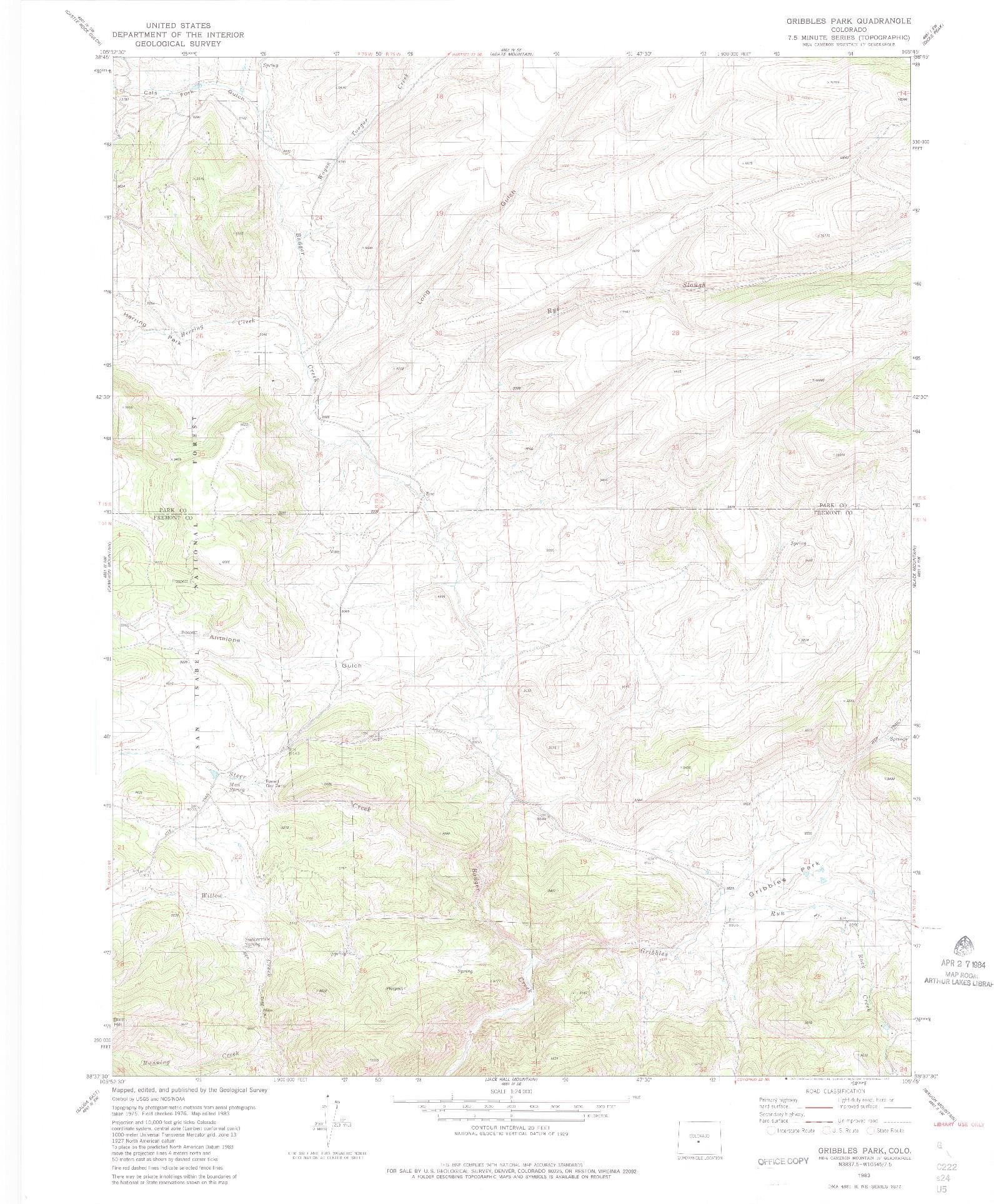 USGS 1:24000-SCALE QUADRANGLE FOR GRIBBLES PARK, CO 1983