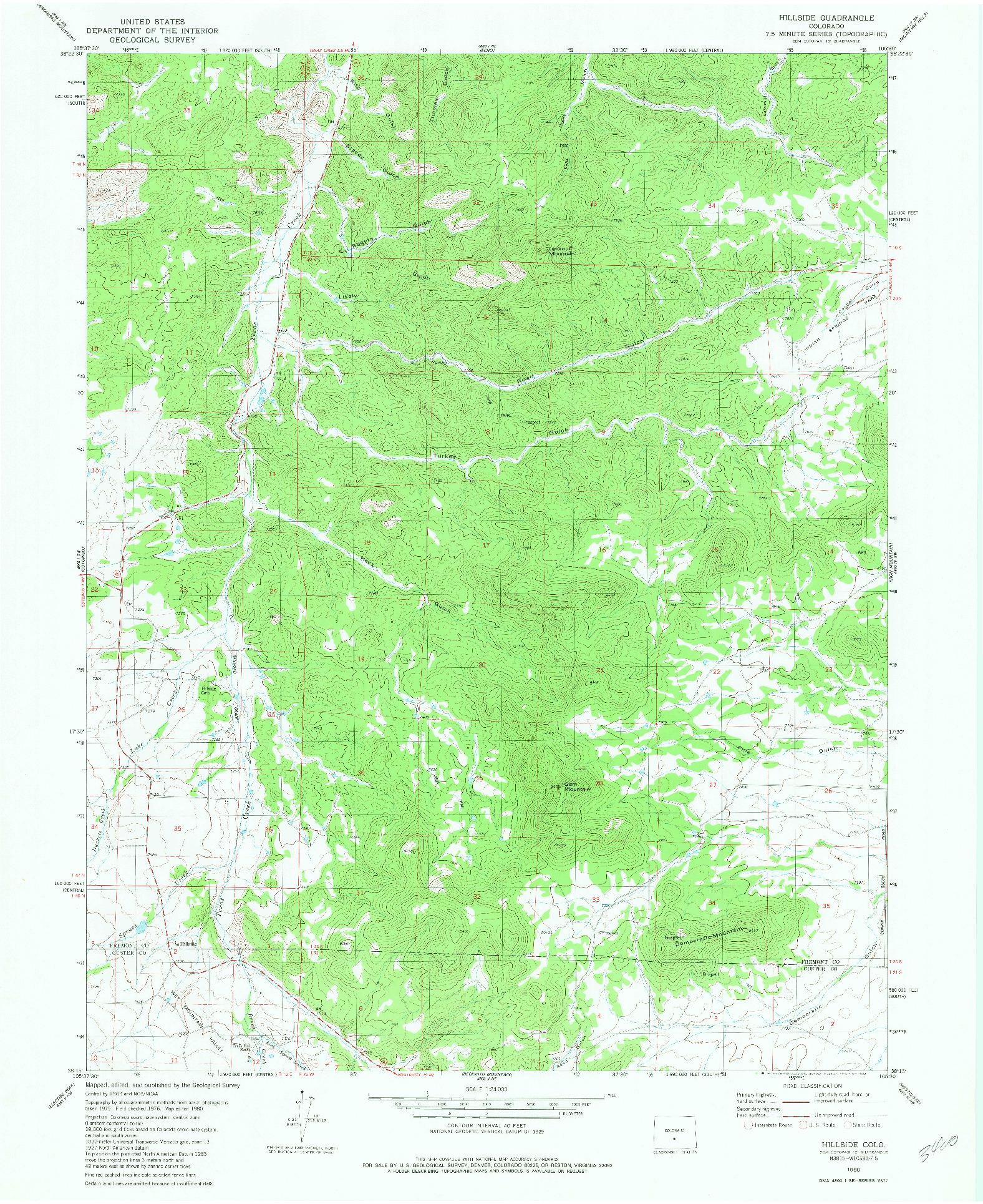 USGS 1:24000-SCALE QUADRANGLE FOR HILLSIDE, CO 1980