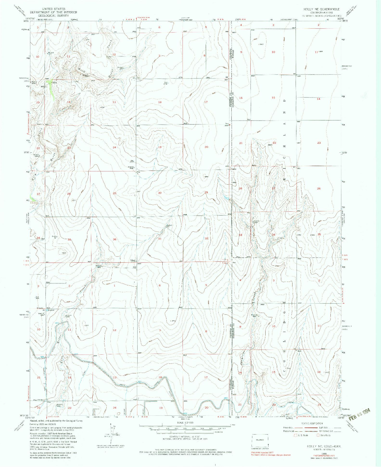 USGS 1:24000-SCALE QUADRANGLE FOR HOLLY NE, CO 1955