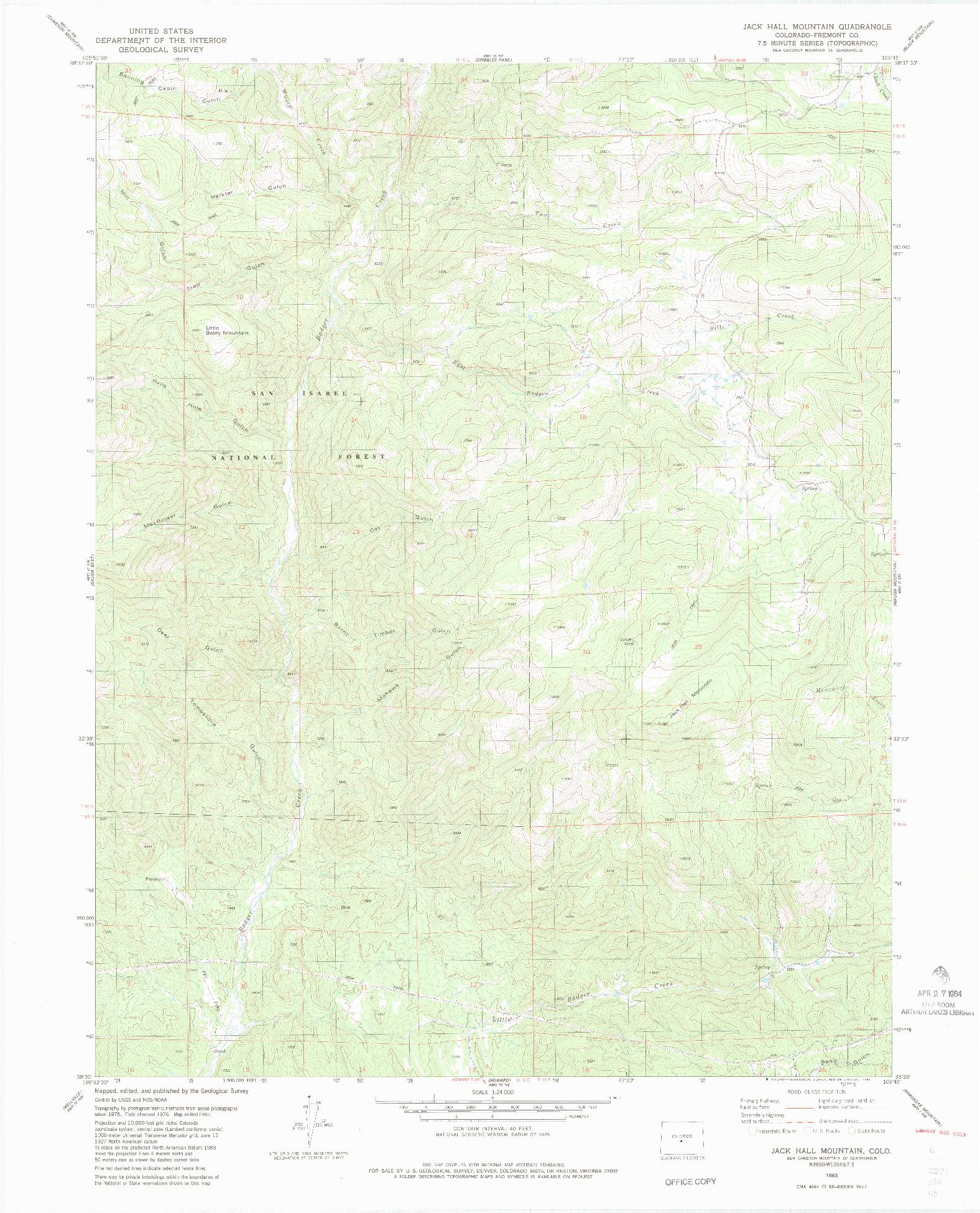 USGS 1:24000-SCALE QUADRANGLE FOR JACK HALL MOUNTAIN, CO 1983