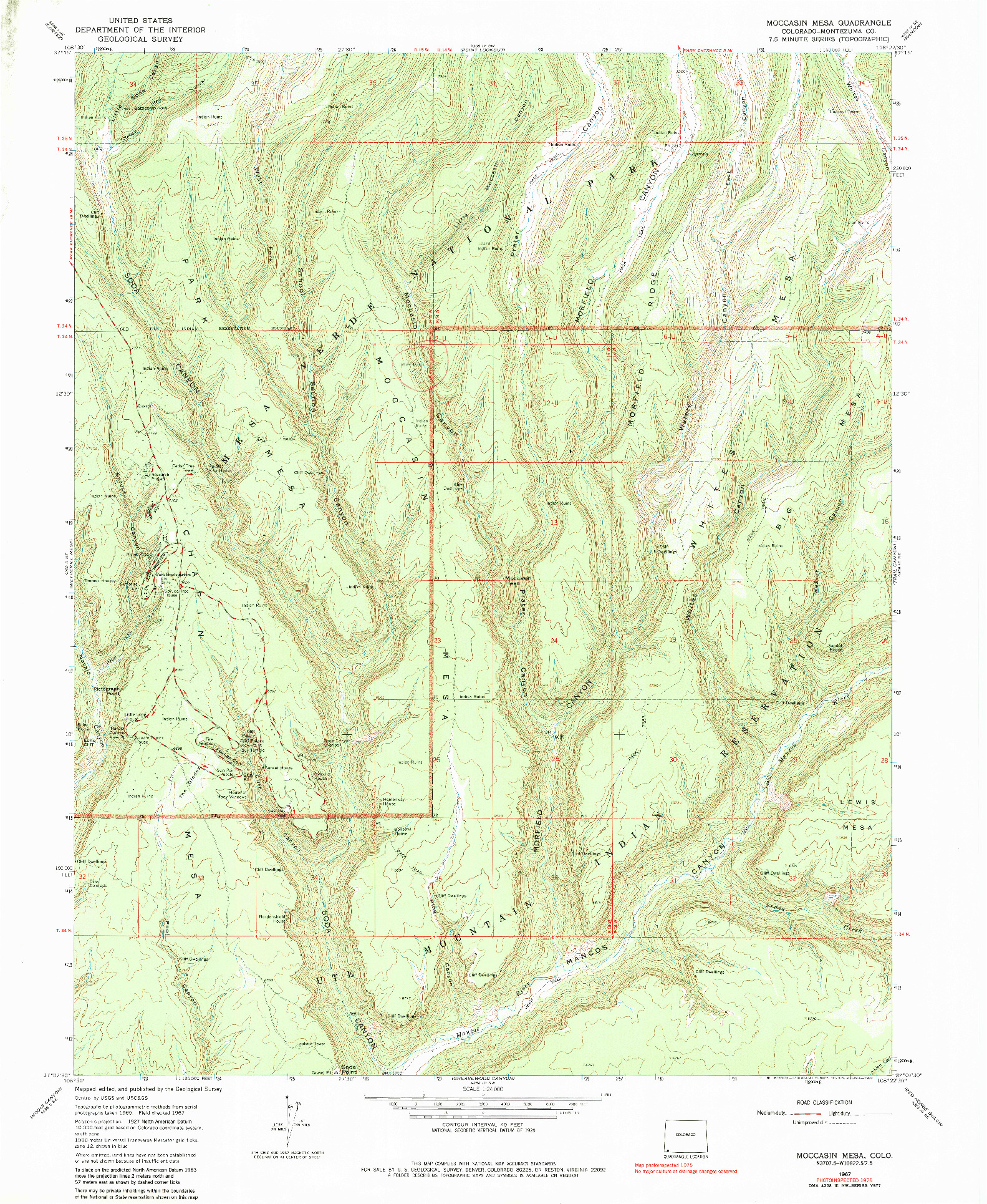 USGS 1:24000-SCALE QUADRANGLE FOR MOCCASIN MESA, CO 1967