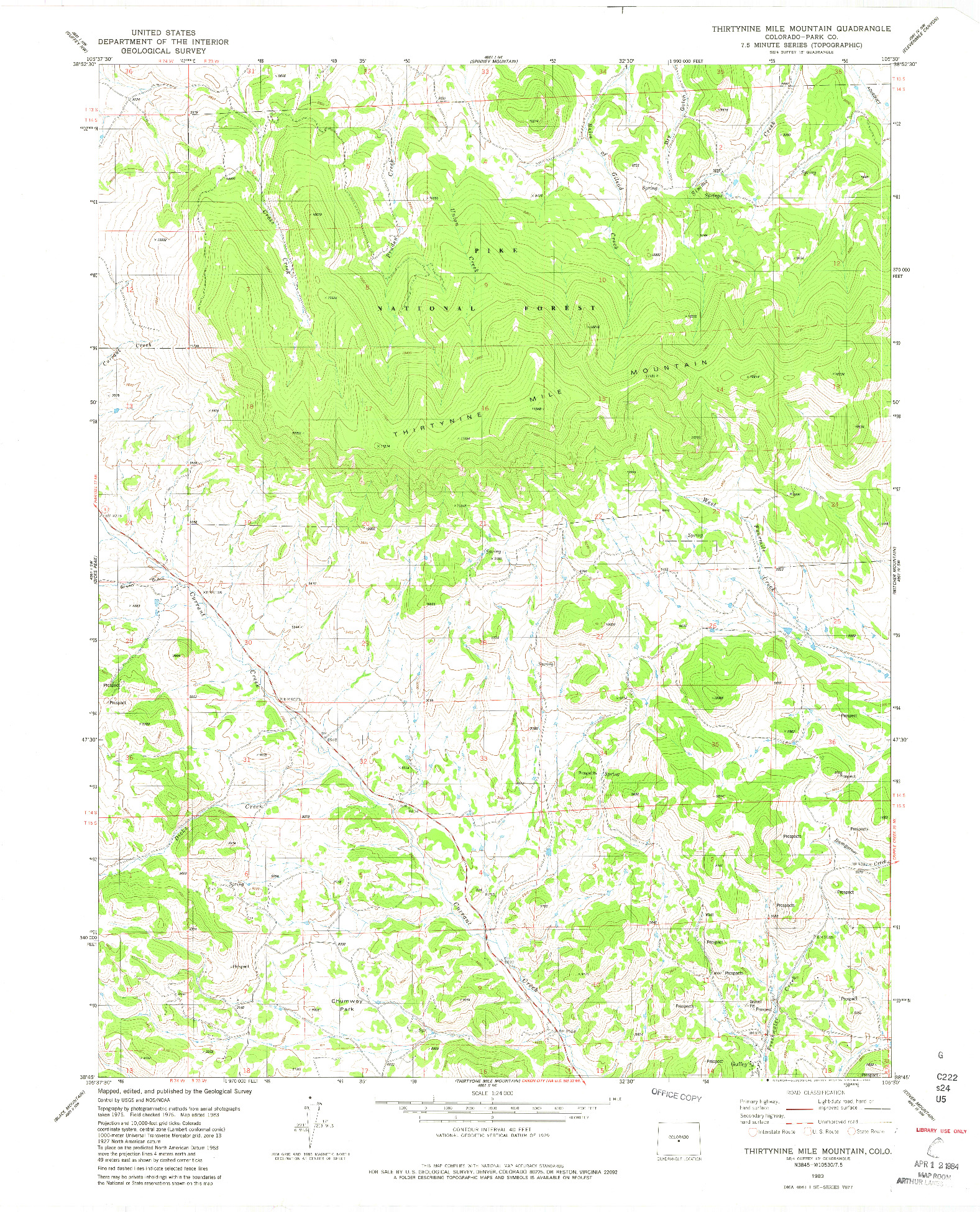 USGS 1:24000-SCALE QUADRANGLE FOR THIRTYNINE MILE MOUNTAIN, CO 1983