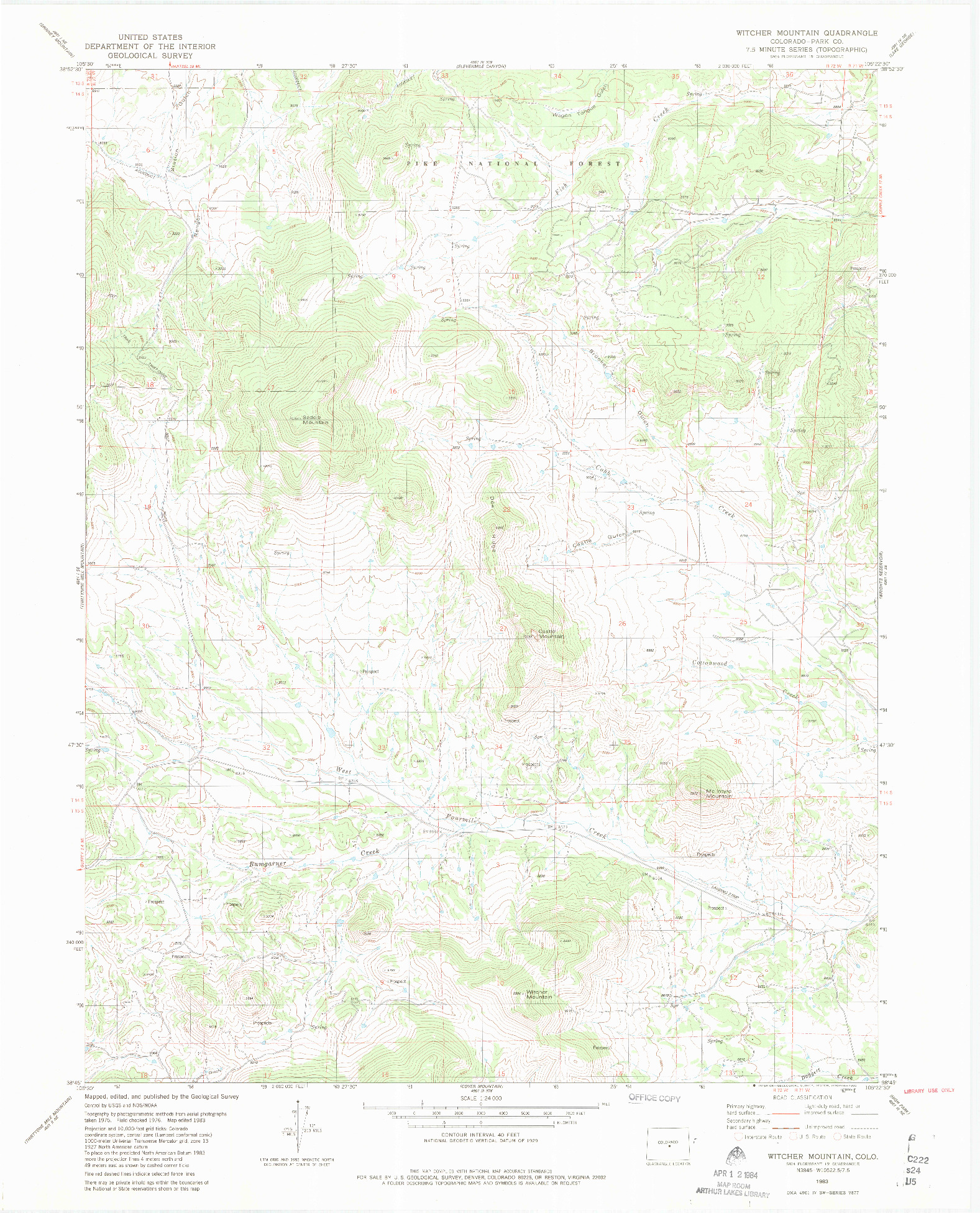 USGS 1:24000-SCALE QUADRANGLE FOR WITCHER MOUNTAIN, CO 1983