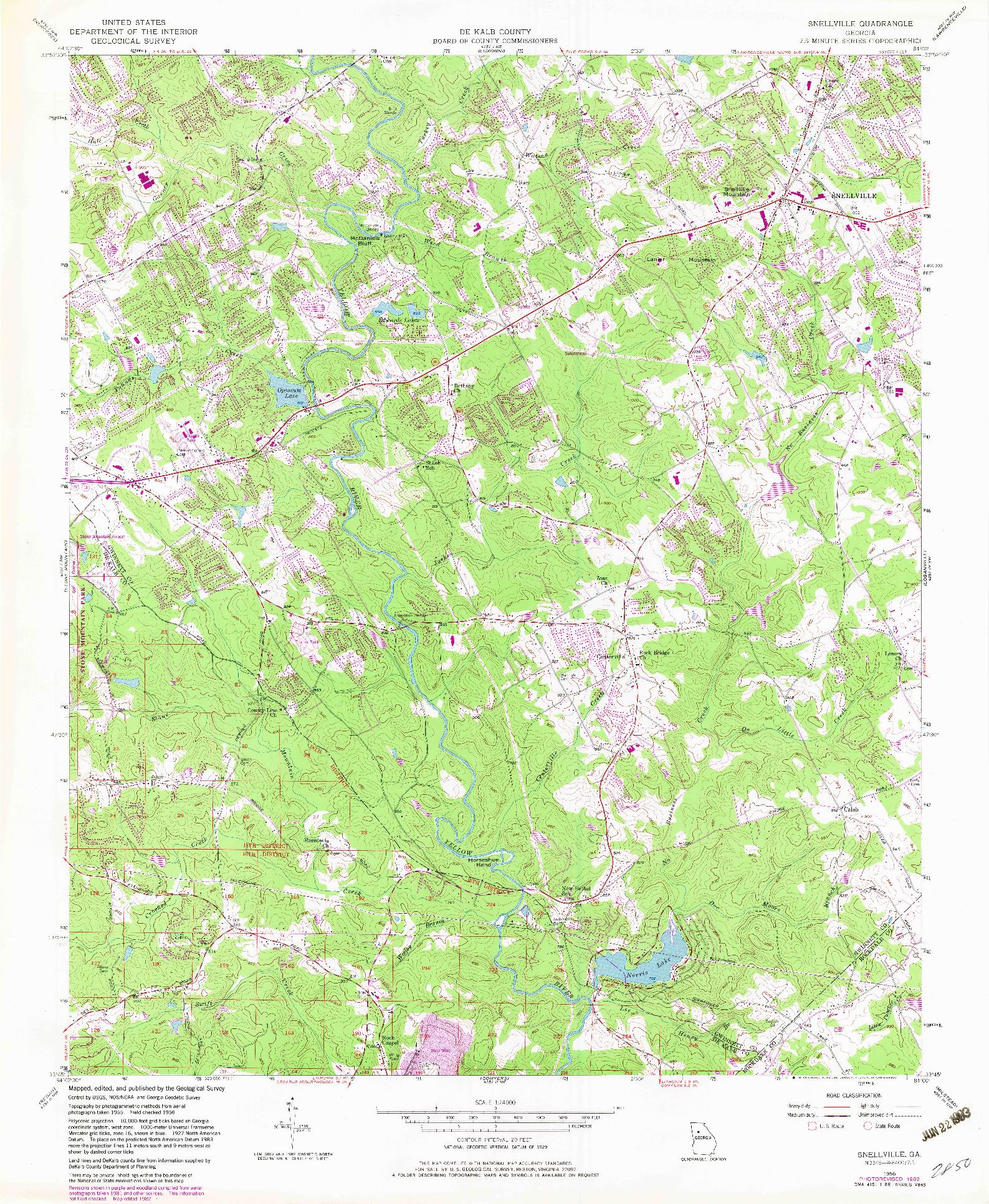 USGS 1:24000-SCALE QUADRANGLE FOR SNELLVILLE, GA 1956