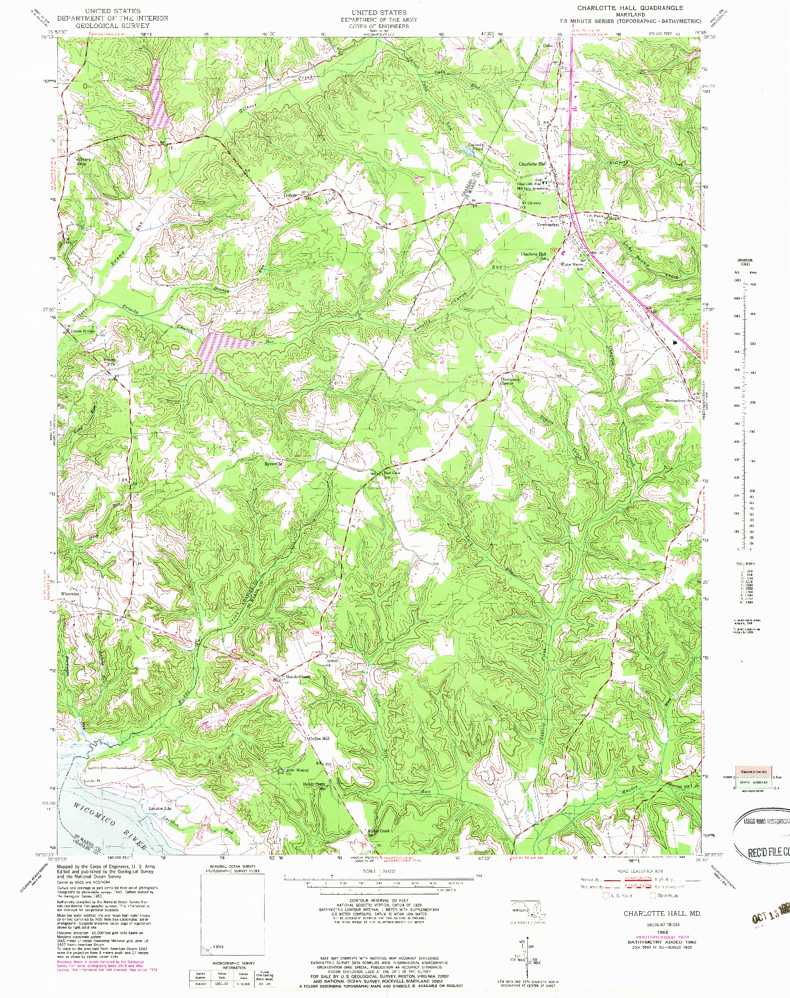 USGS 1:24000-SCALE QUADRANGLE FOR CHARLOTTE HALL, MD 1953