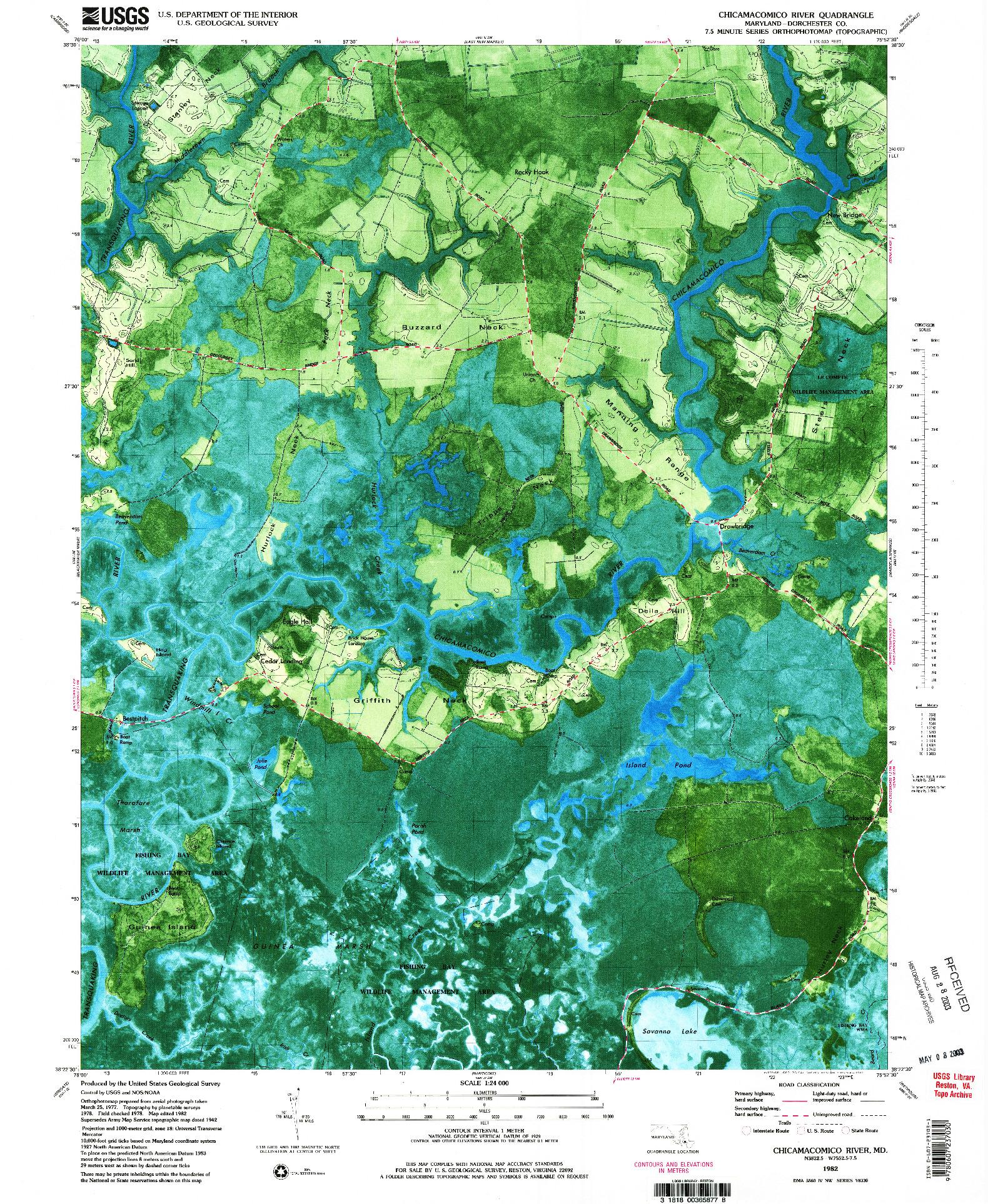 USGS 1:24000-SCALE QUADRANGLE FOR CHICAMACOMICO RIVER, MD 1982