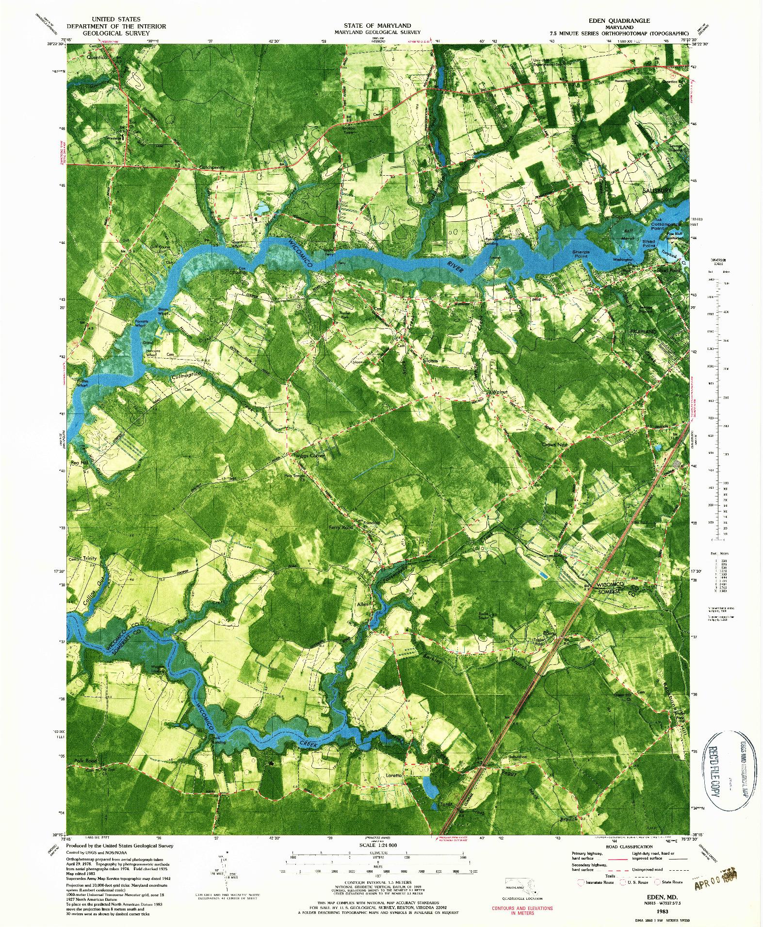 USGS 1:24000-SCALE QUADRANGLE FOR EDEN, MD 1983