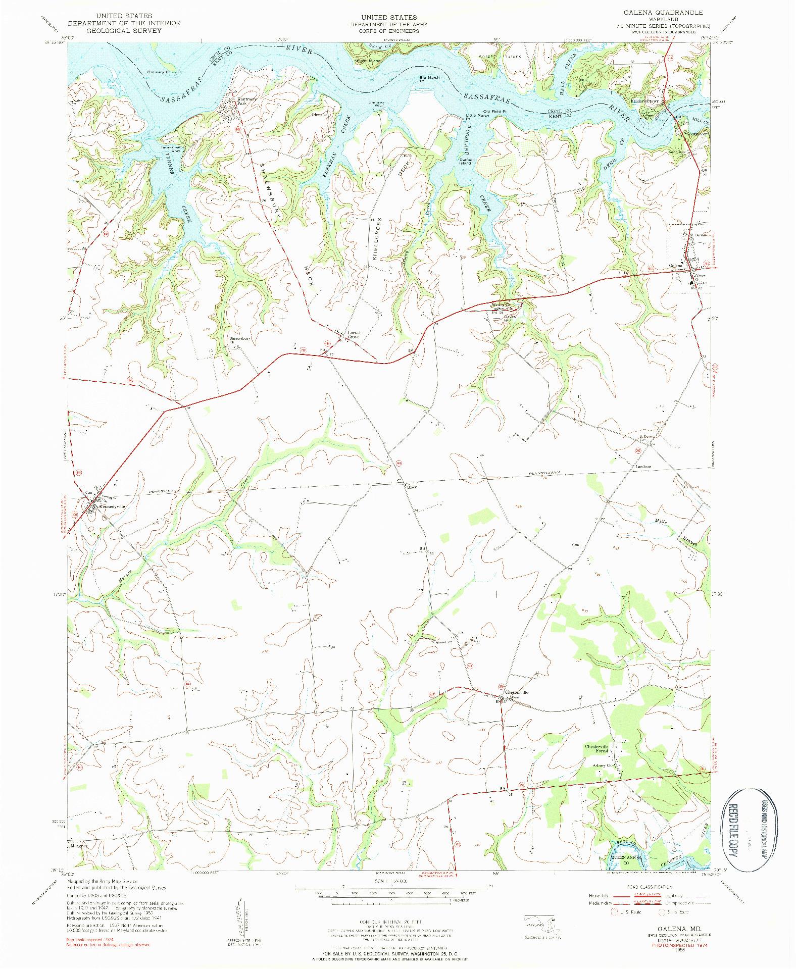USGS 1:24000-SCALE QUADRANGLE FOR GALENA, MD 1953